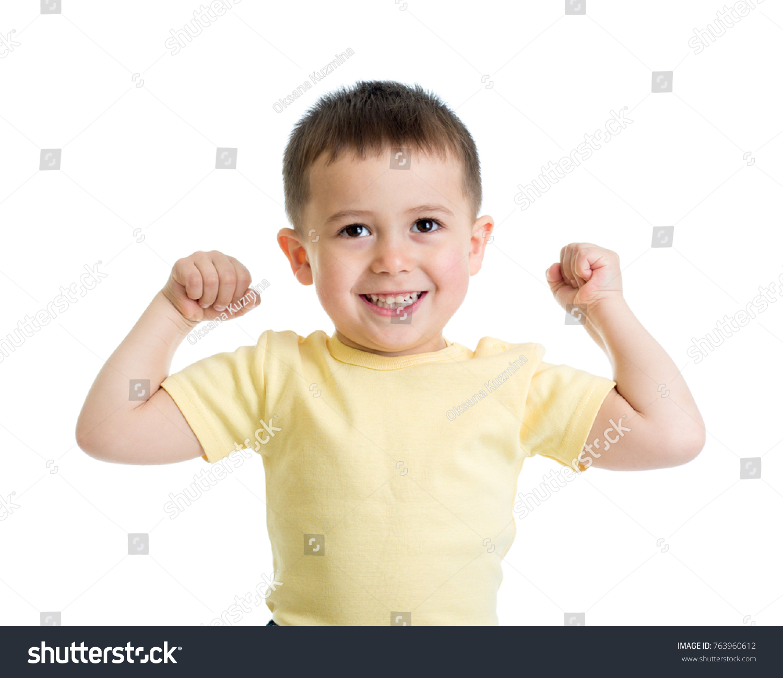 Portrait Cute Kid Boy Showing Muscles Stock Photo 763960612 ...