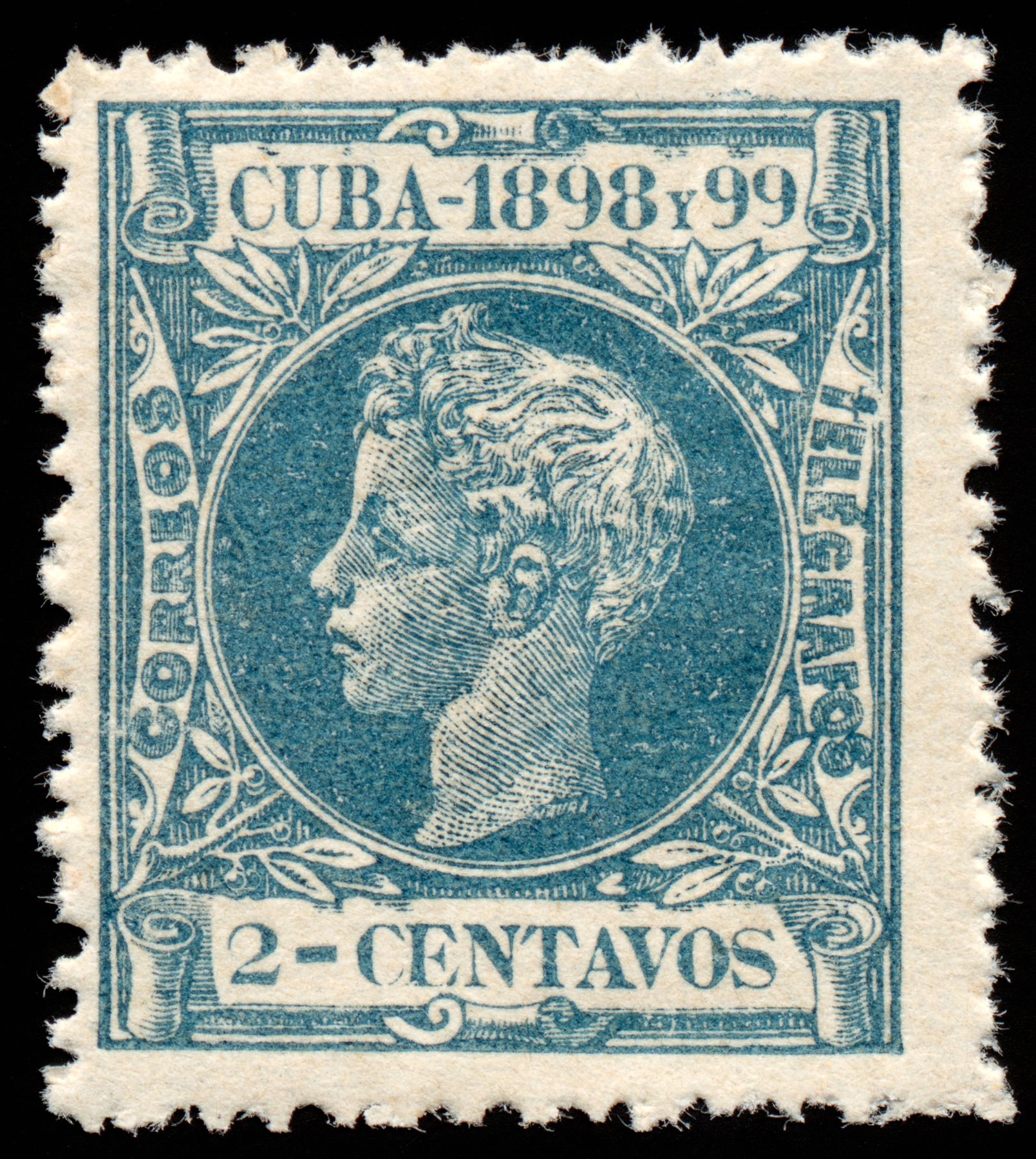 Cyan king alfonso xiii stamp photo