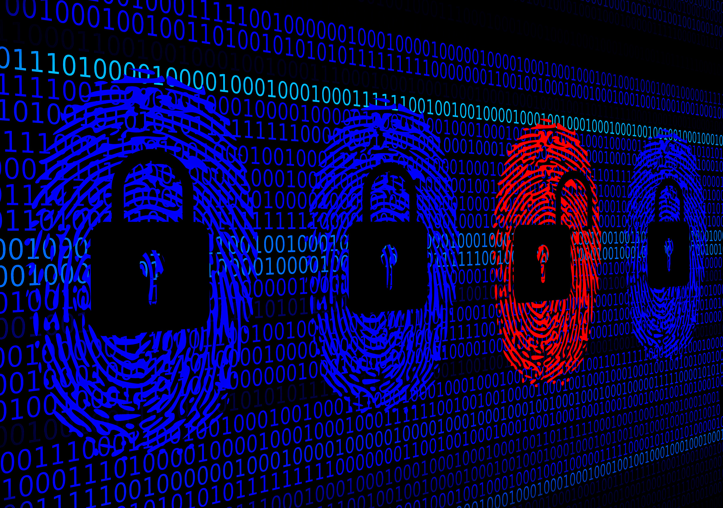 Cyber security concept - open and closed locks photo