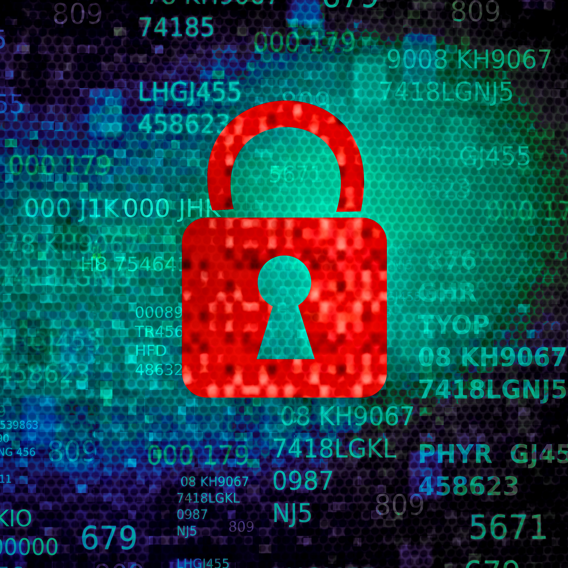 Cyber security concept with red padlock on data screen photo