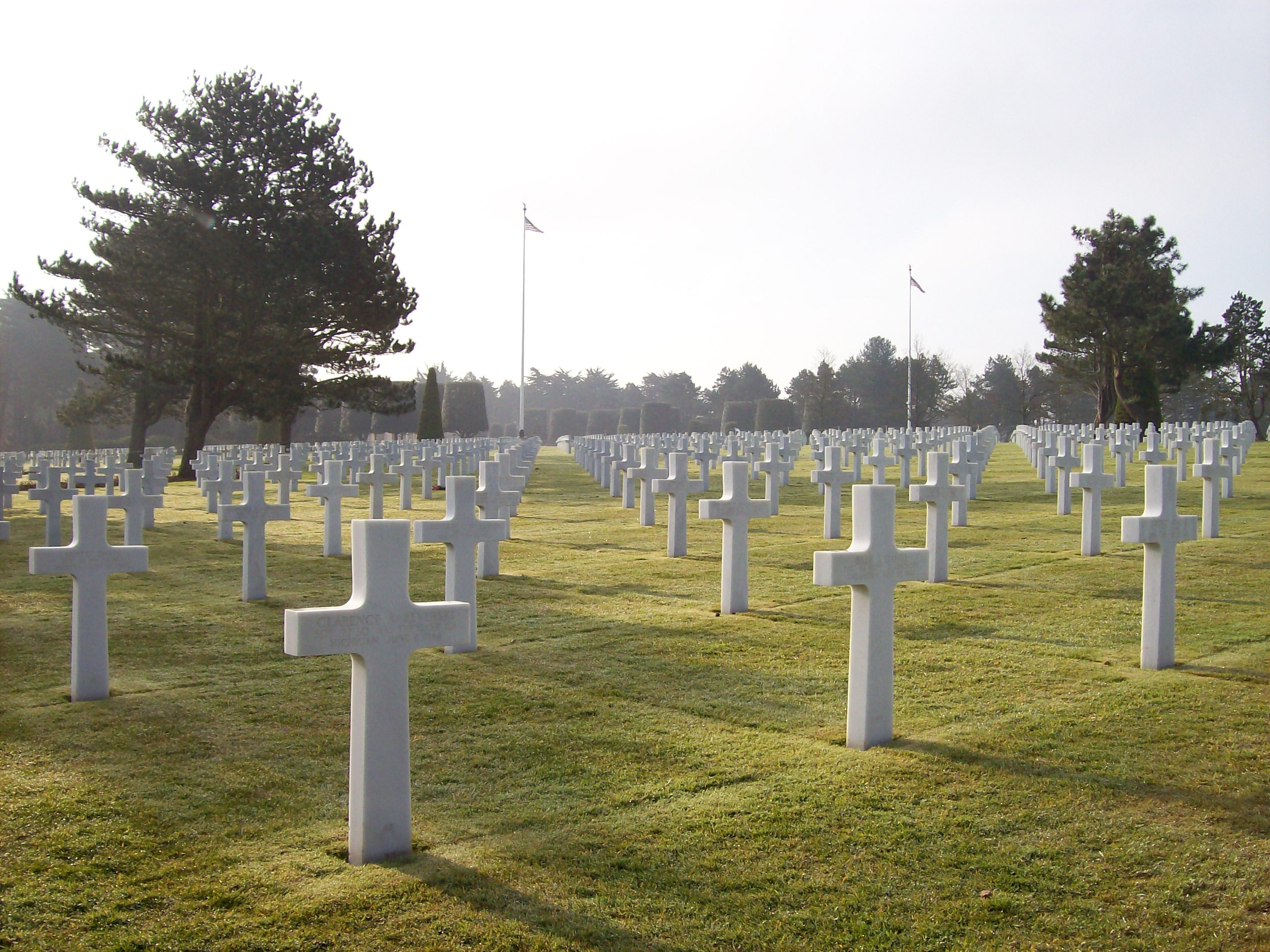 D-day Cemetery, Cemetery, Landscape, Tombstones, Sunlight, HQ Photo