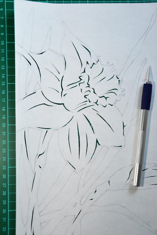 Daffodil paper cutting, Art, Lines, Mat, Minimal, HQ Photo