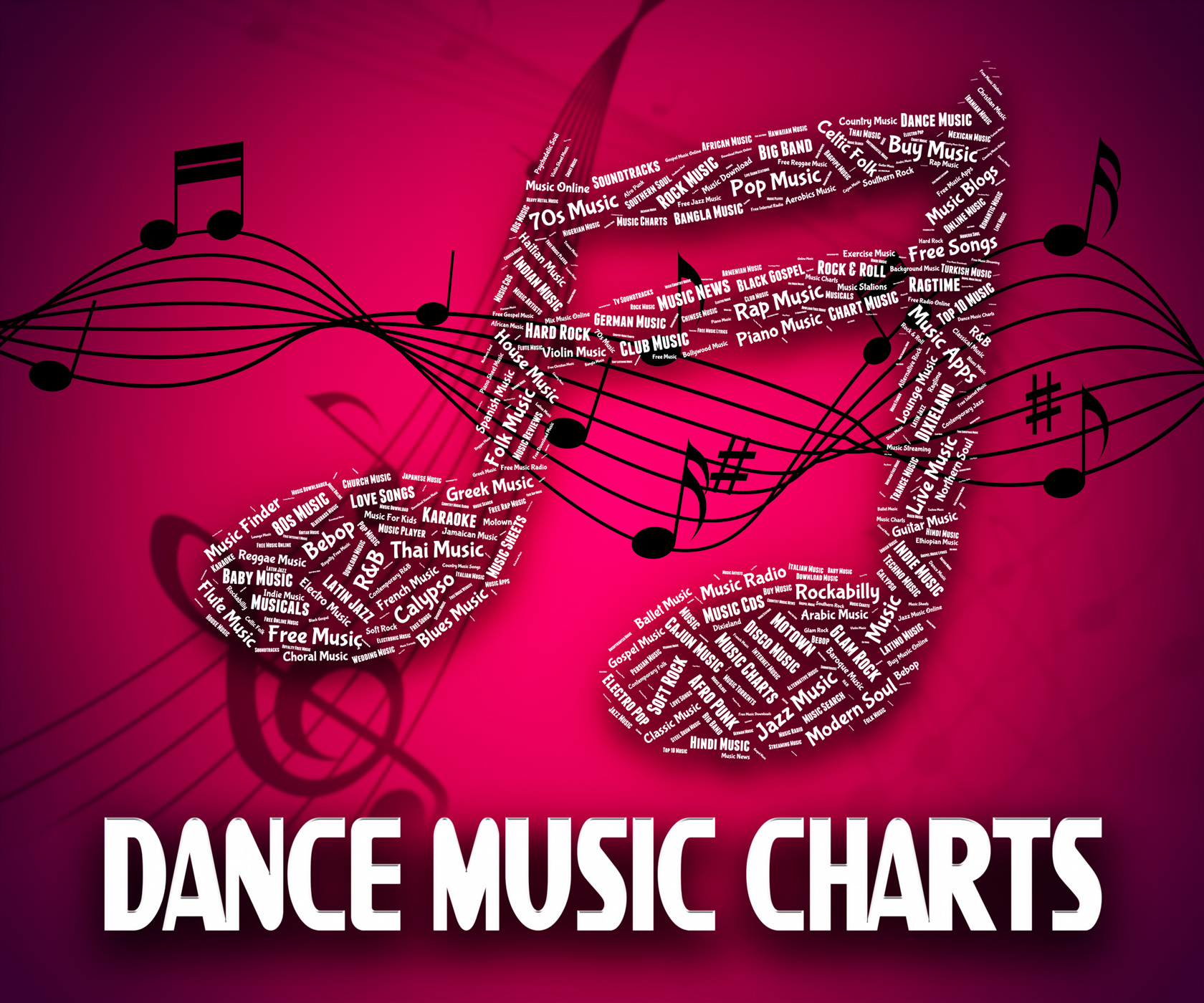Dance music charts means hit parade and disco photo