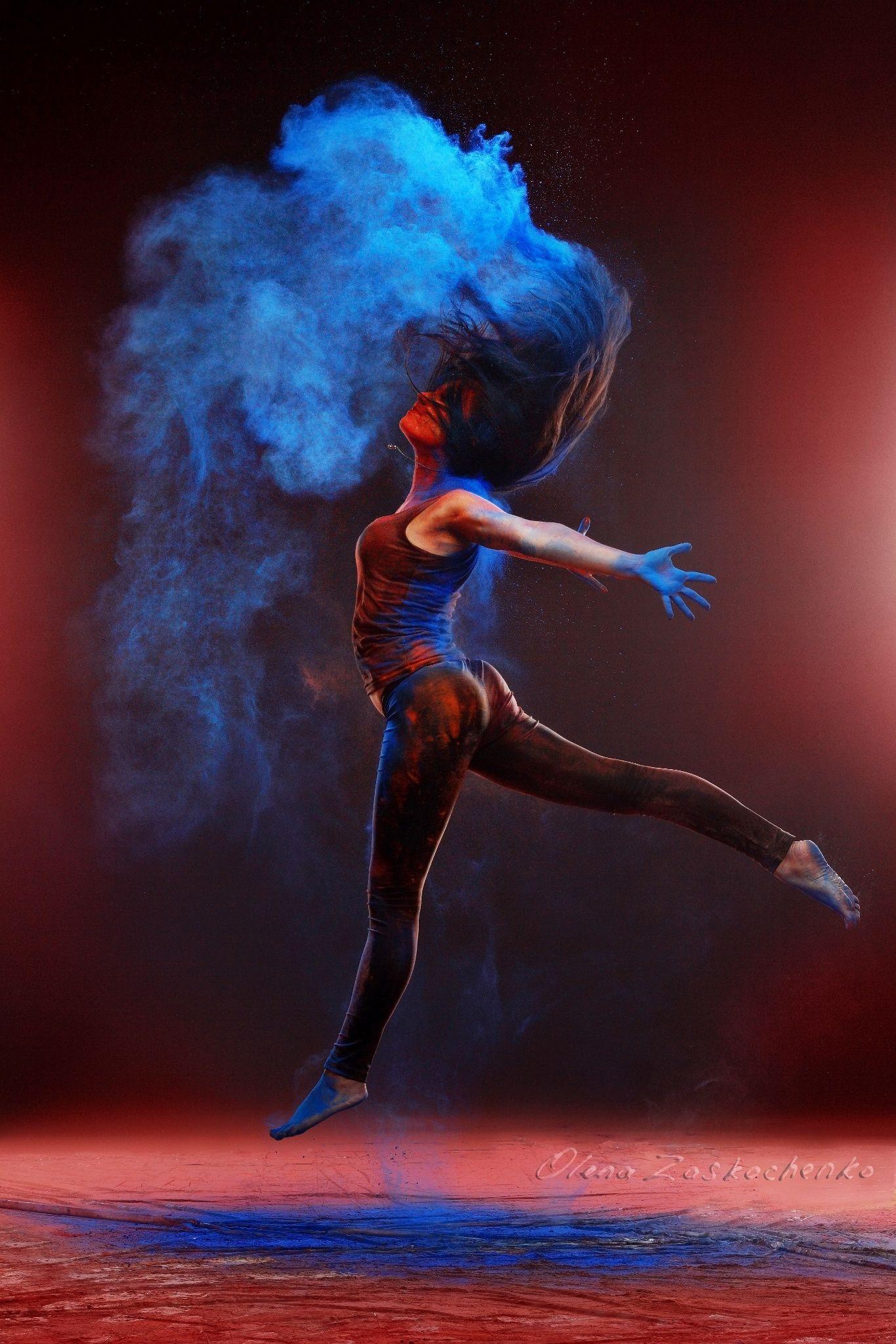 girl with colored powder - girl with colored powder exploding around ...