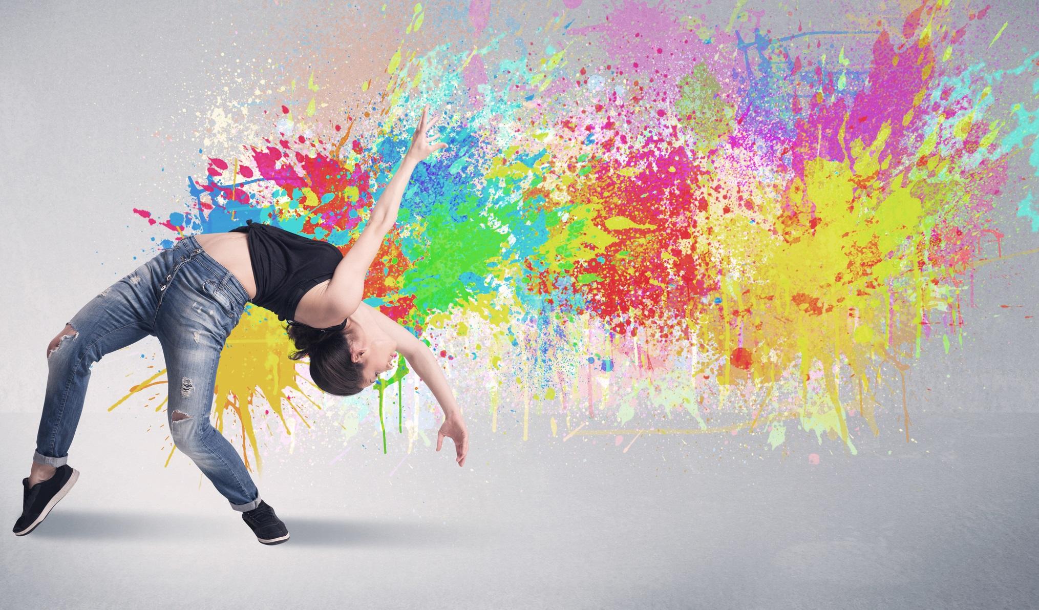Dancing girls color photo
