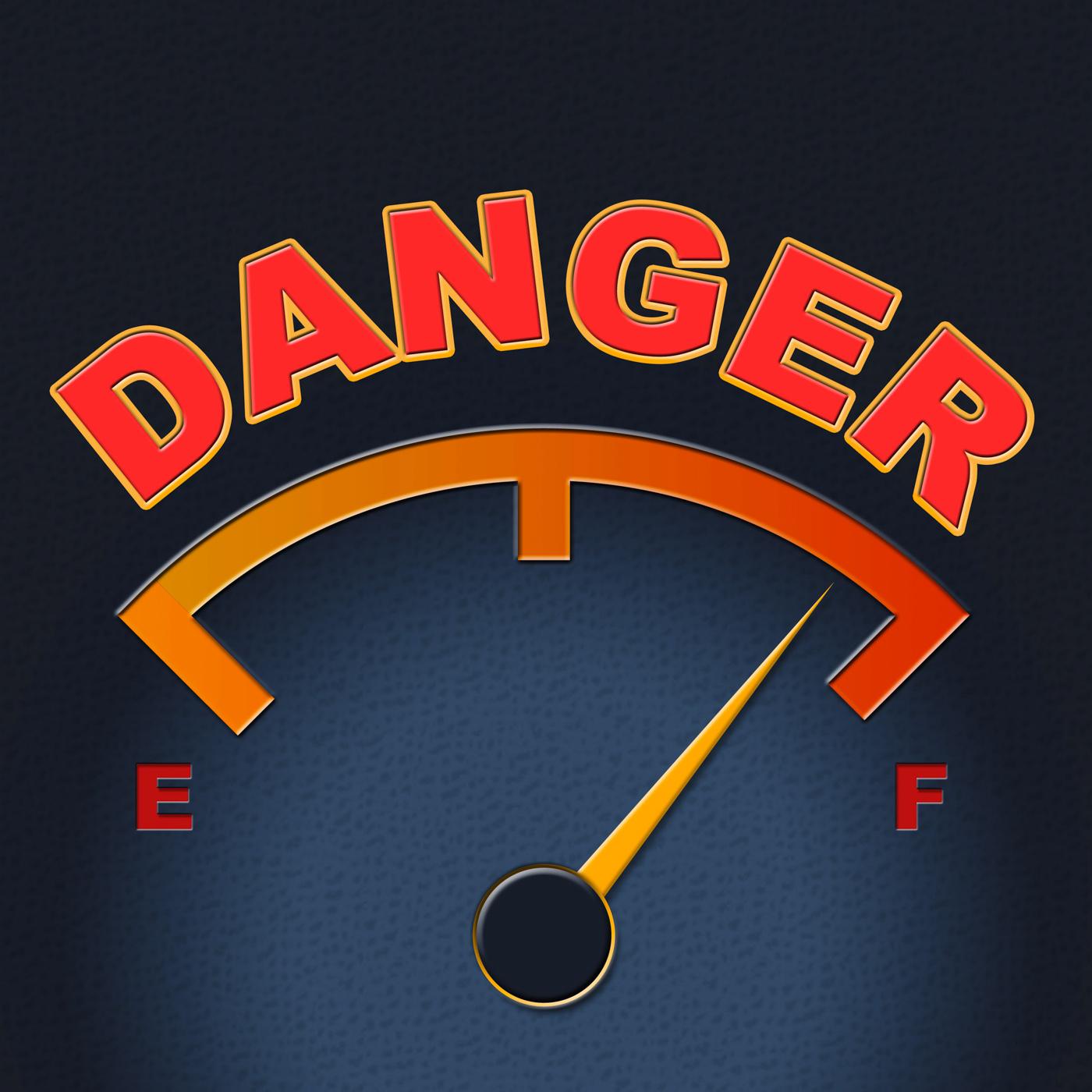 Danger gauge indicates caution dangerous and measure photo