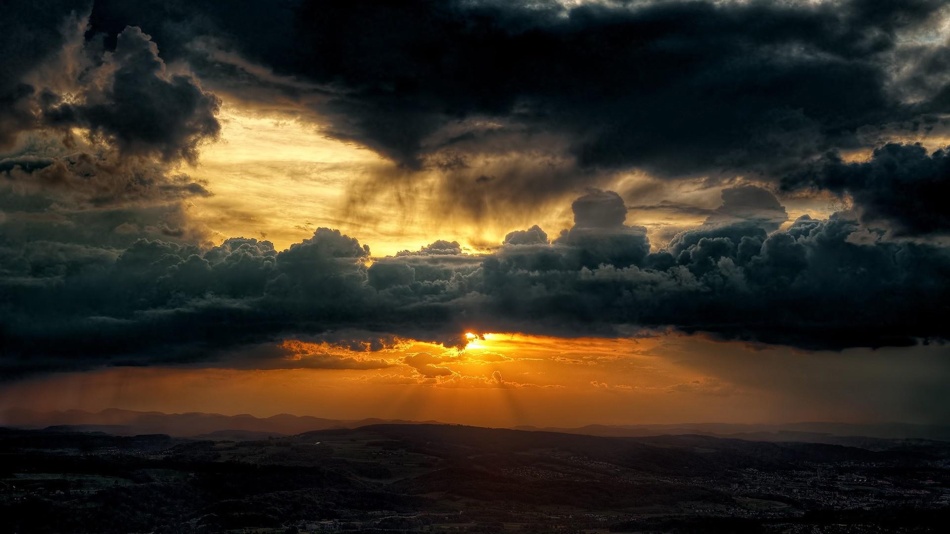 Dark Clouds Sky Sun Wallpapers - 1920x1080 - 396420