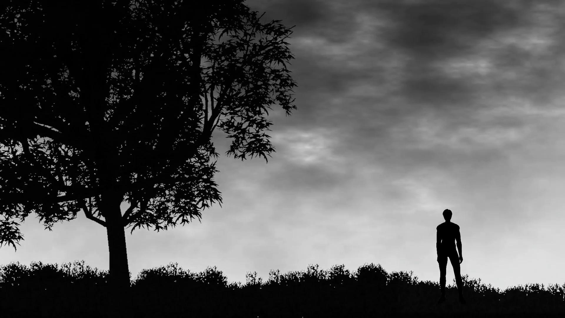 Man standing in a field against dark skies Motion Background ...