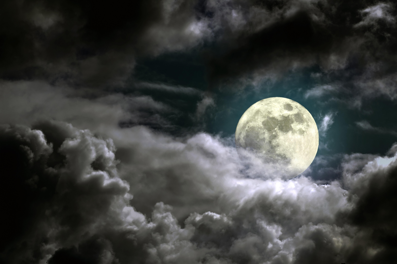 Wallpaper Full moon, Clouds, Dark sky, 5K, Nature, #5331