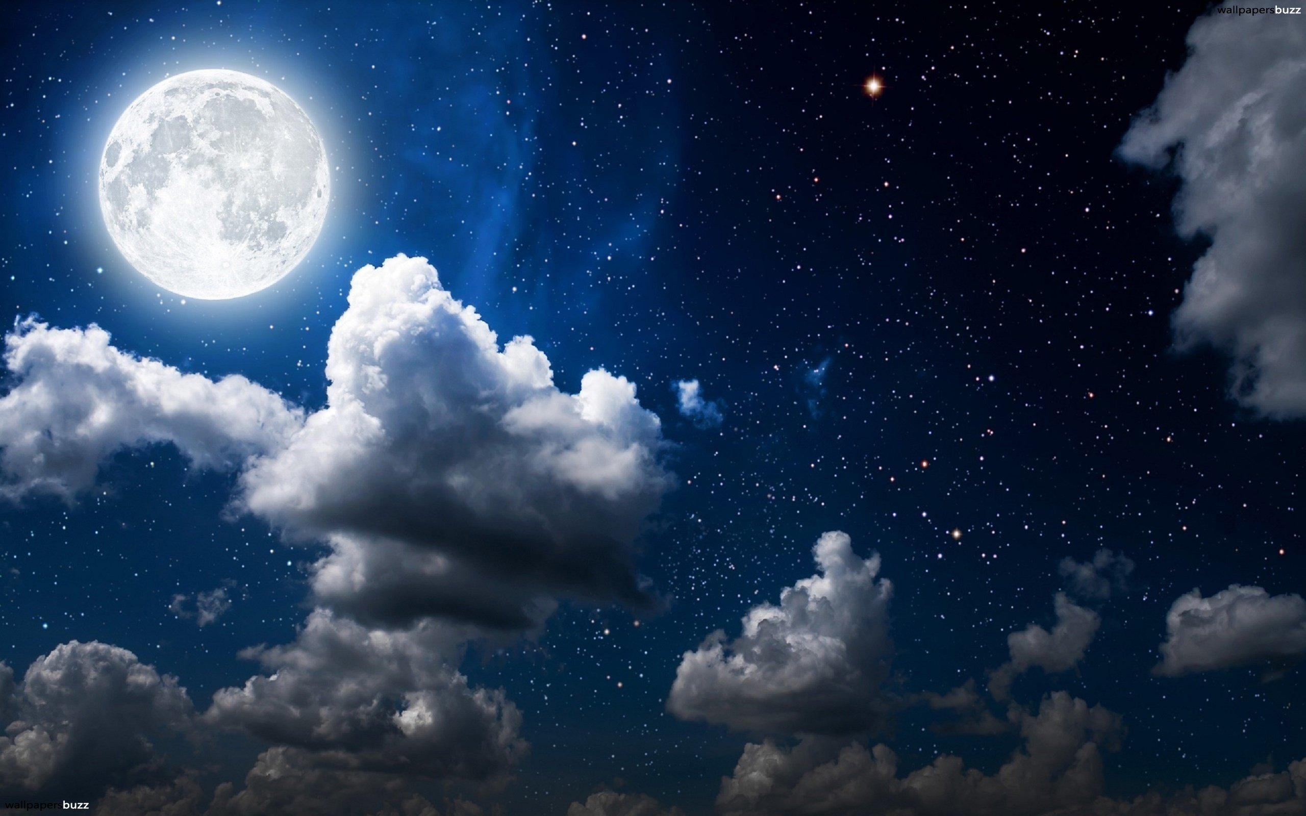 Moon, clouds and dark sky HD Wallpaper