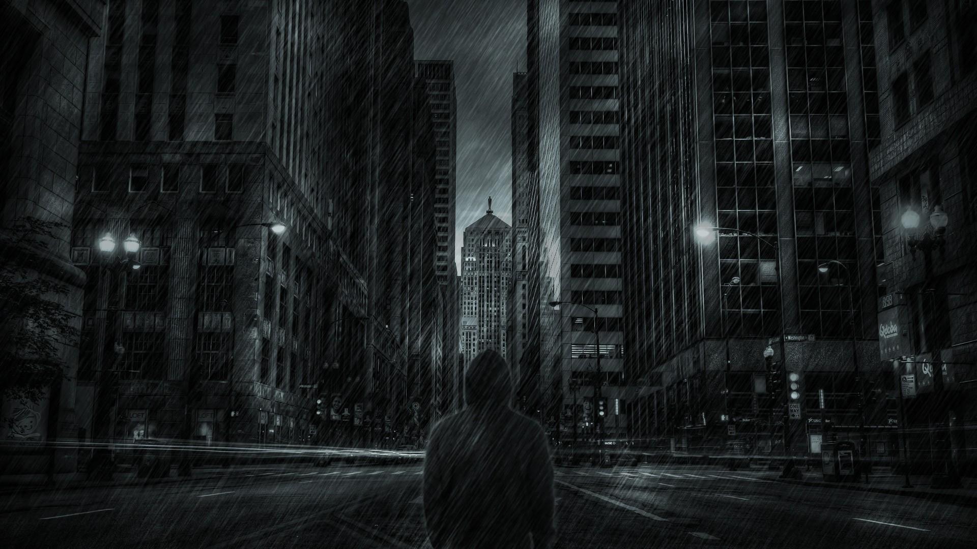 Buildings Skyscrapers Hoodie Rain Storm mood dark free desktop ...