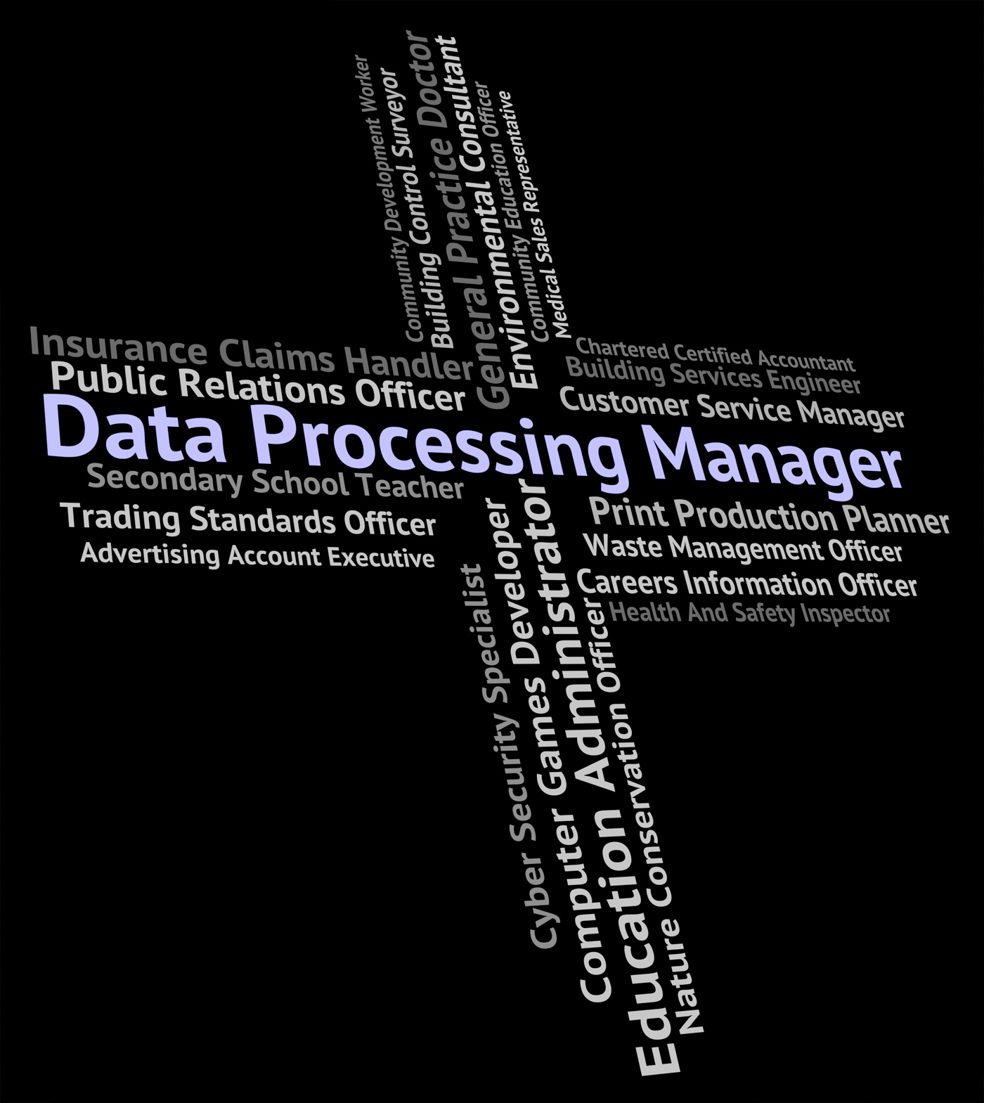 Data processing manager means hire work and occupation photo