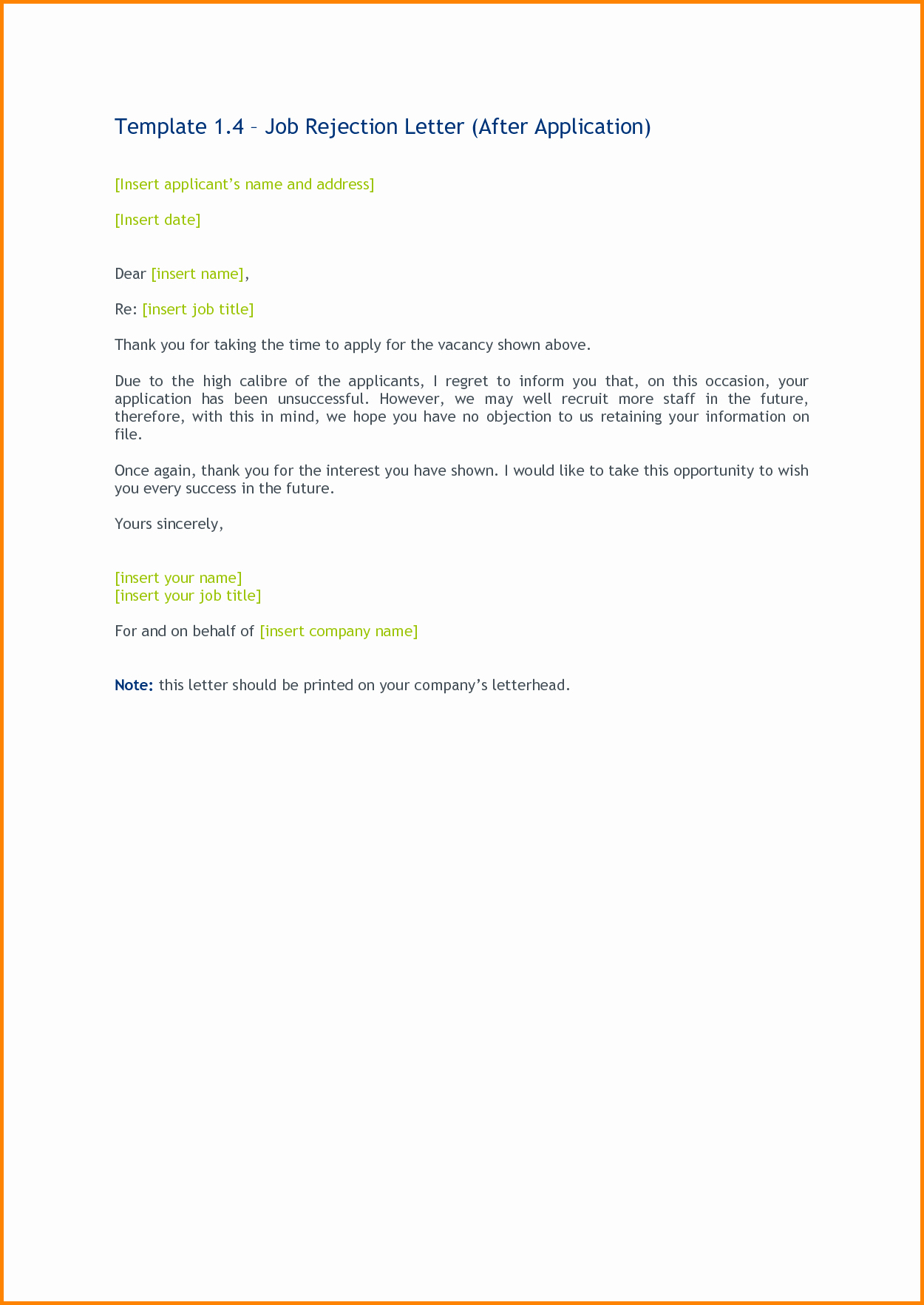 Sample Of Job Decline Letter Beautiful 12 Job Applicant Rejection ...