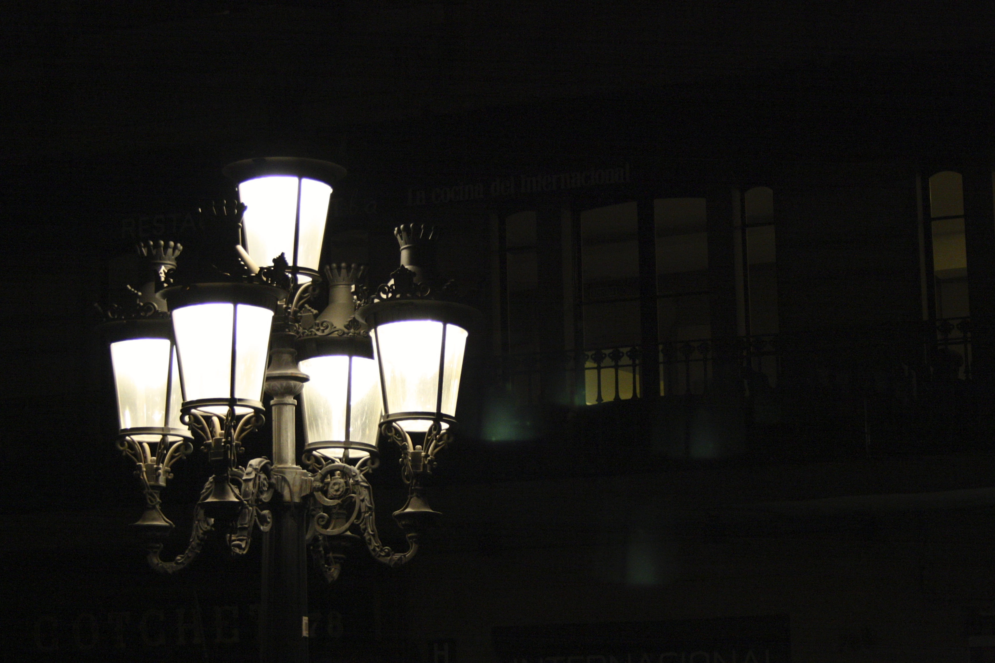 Decorative Street Lamp at Night, Black, Black and white, Black background, Decorative, HQ Photo