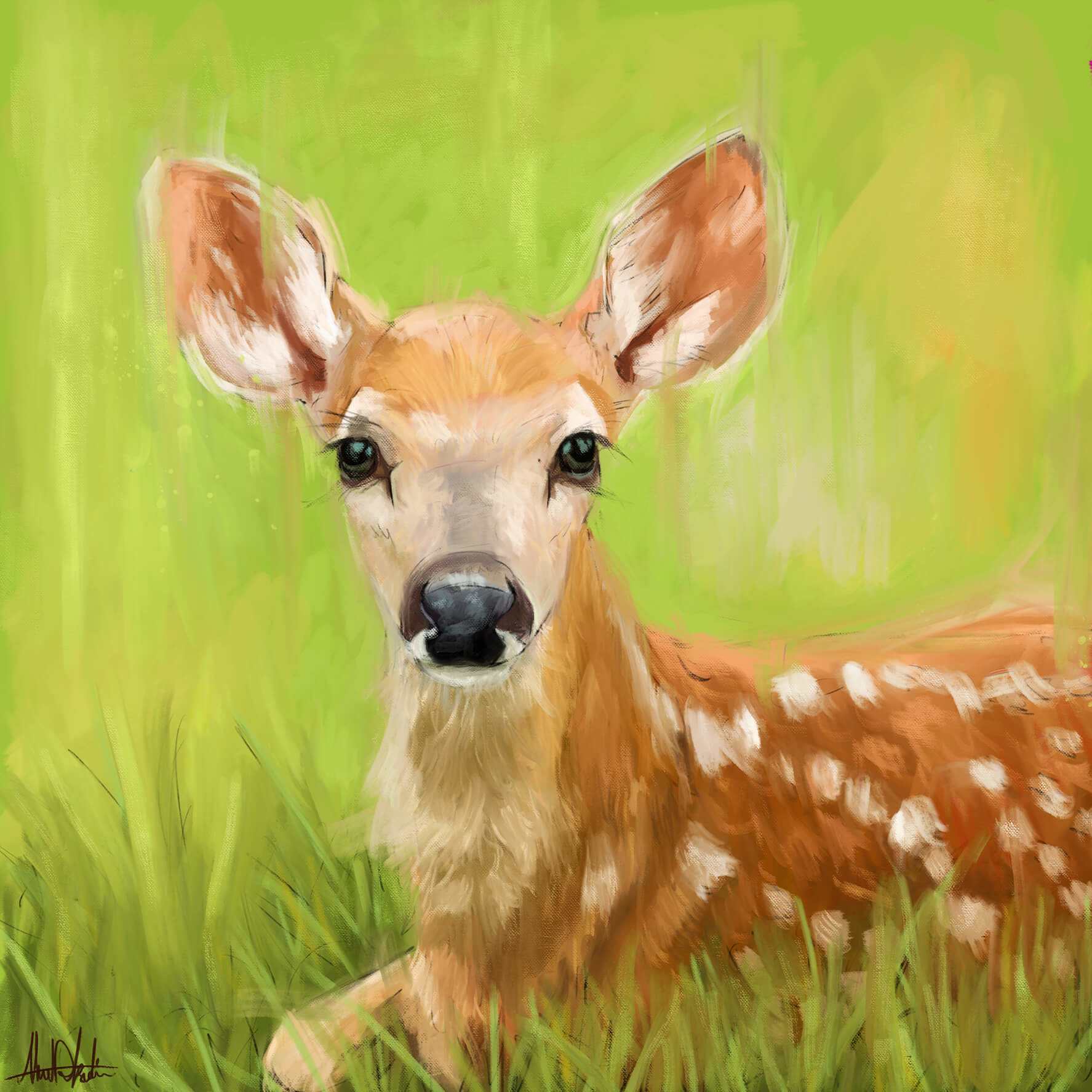 ArtStation - Cute deer baby painting with green background painted ...