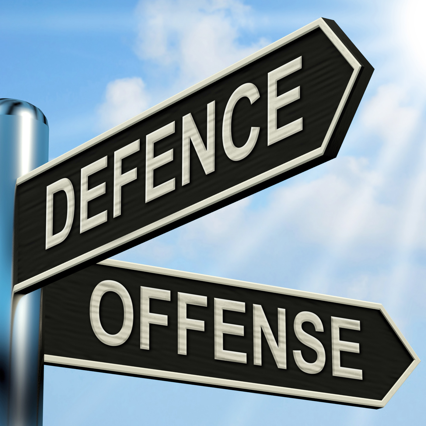 Defence Offense Signpost Shows Defending And Tactics, Advance, Attack, Competition, Defence, HQ Photo