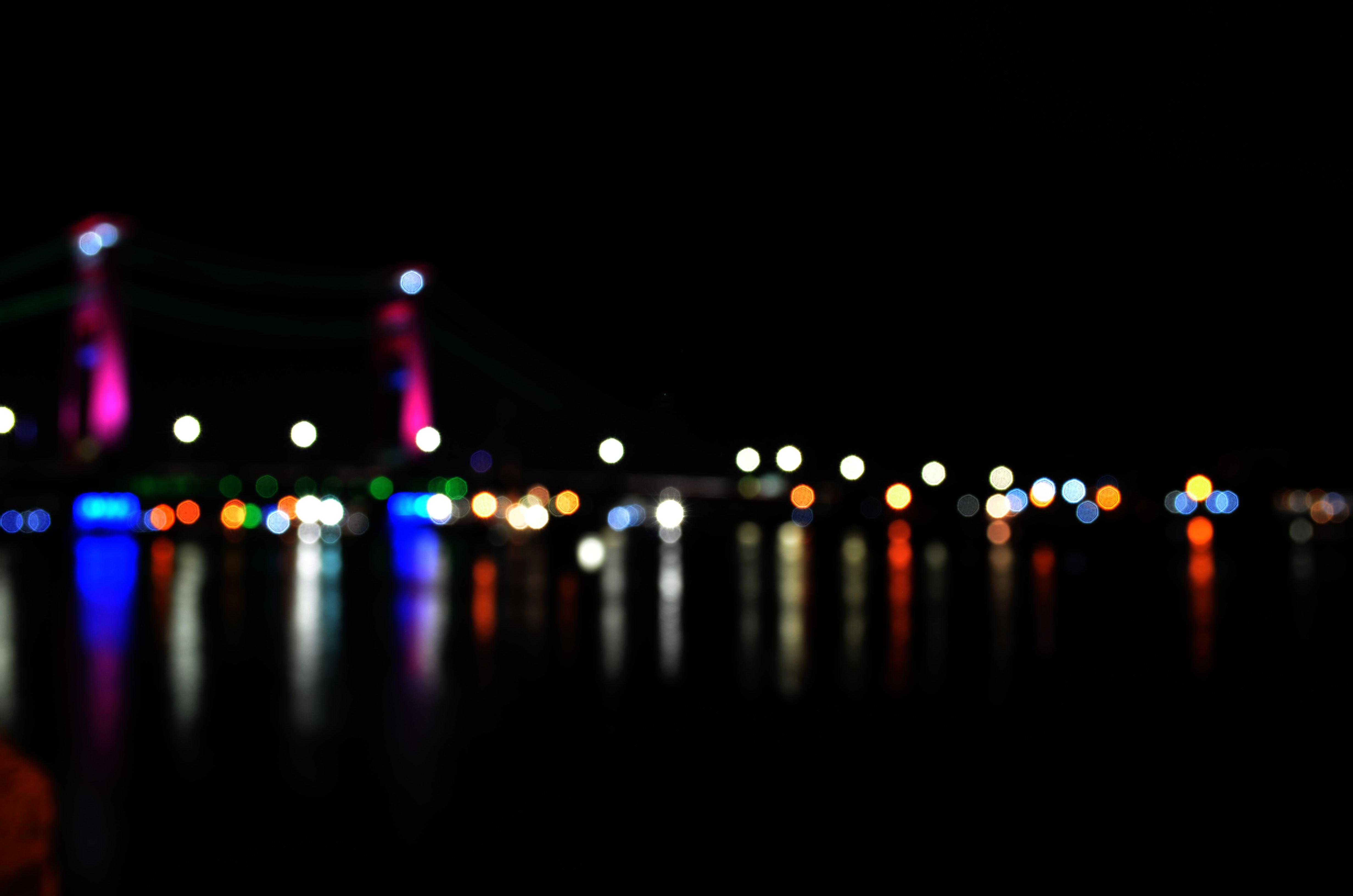 Defocused image of illuminated lights at night photo