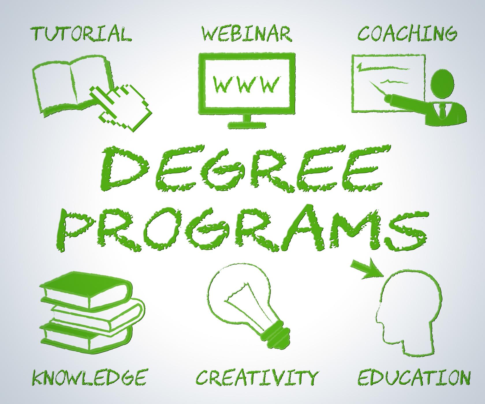 Degree programs shows web site and associates photo