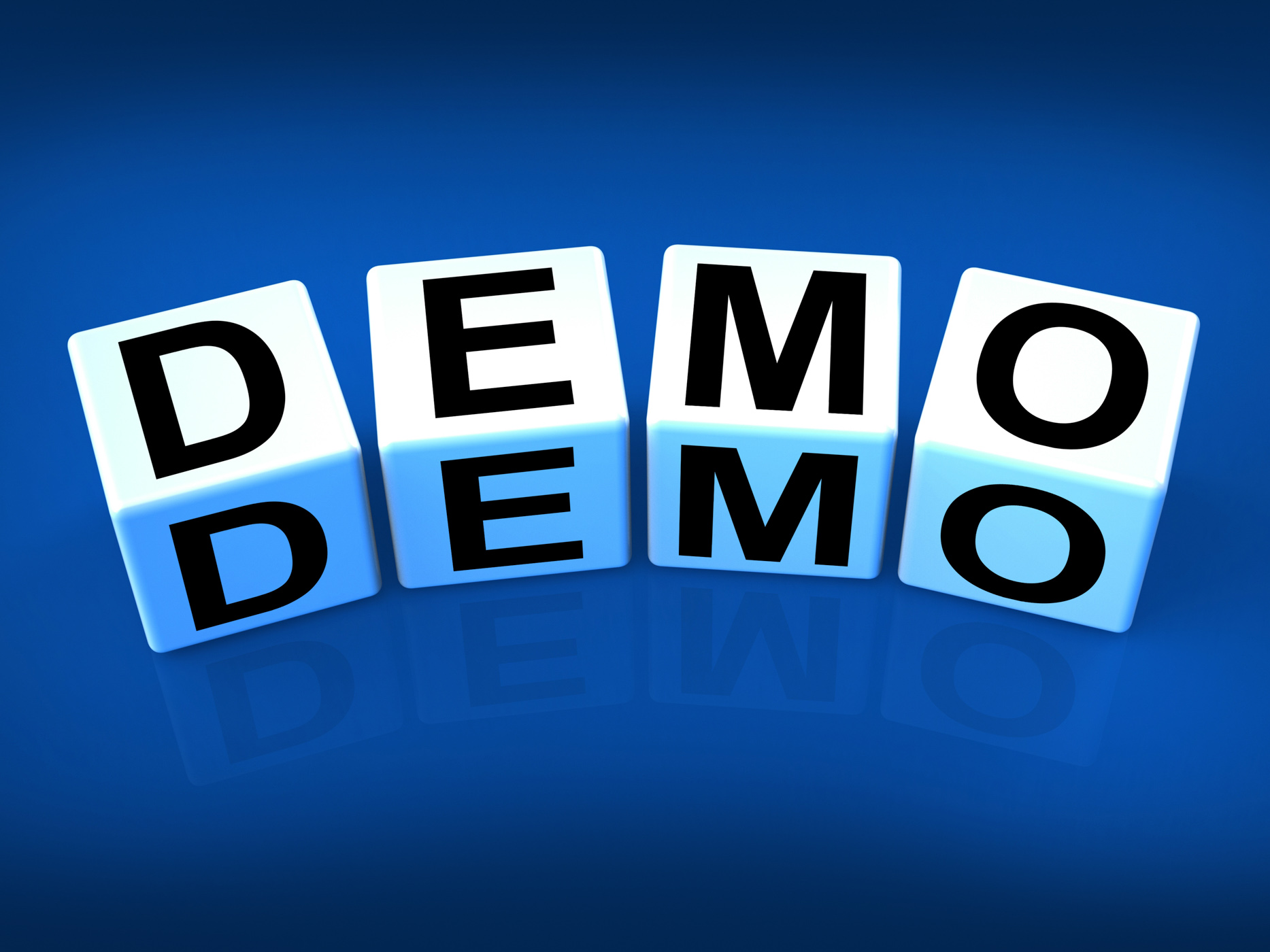 Demo blocks indicate demonstration test or try-out a version photo