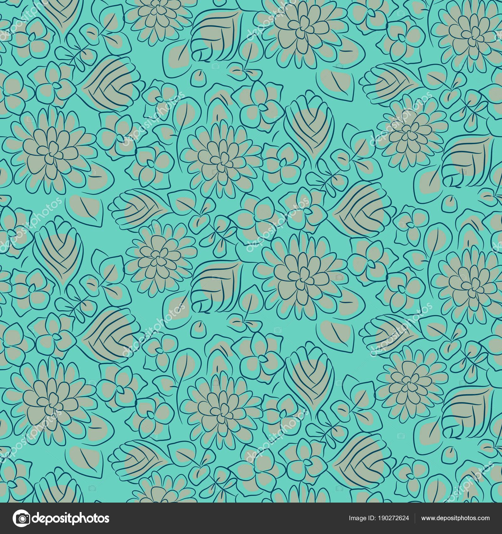 Handdrawn flower dense turquoise line seamless pattern. — Stock ...