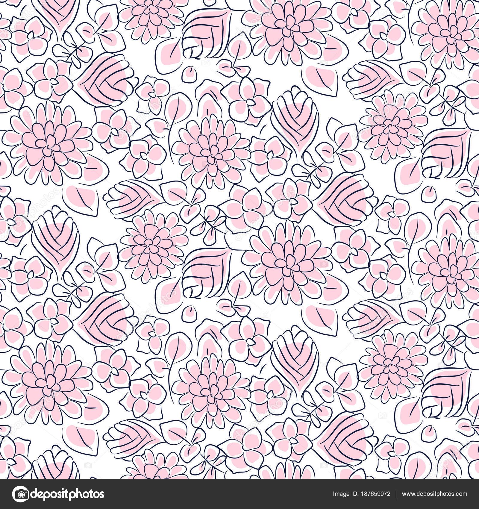 Handdrawn flower dense pink line seamless pattern. — Stock Vector ...