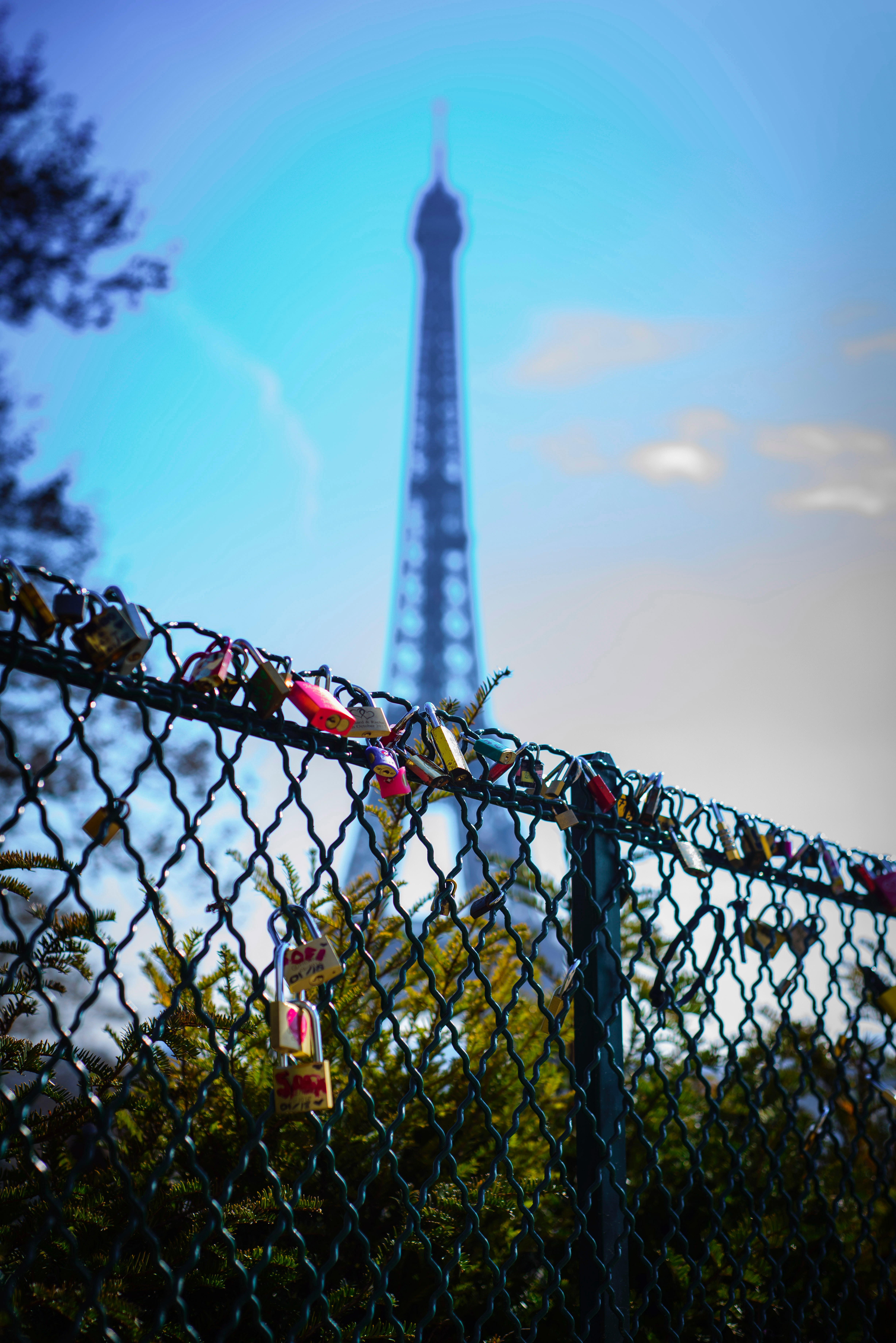 Depth of Field Photography of Love Keys on Chain Link Fence in Front of Eiffel Tower, Architecture, Landscape, Trees, Tower, HQ Photo