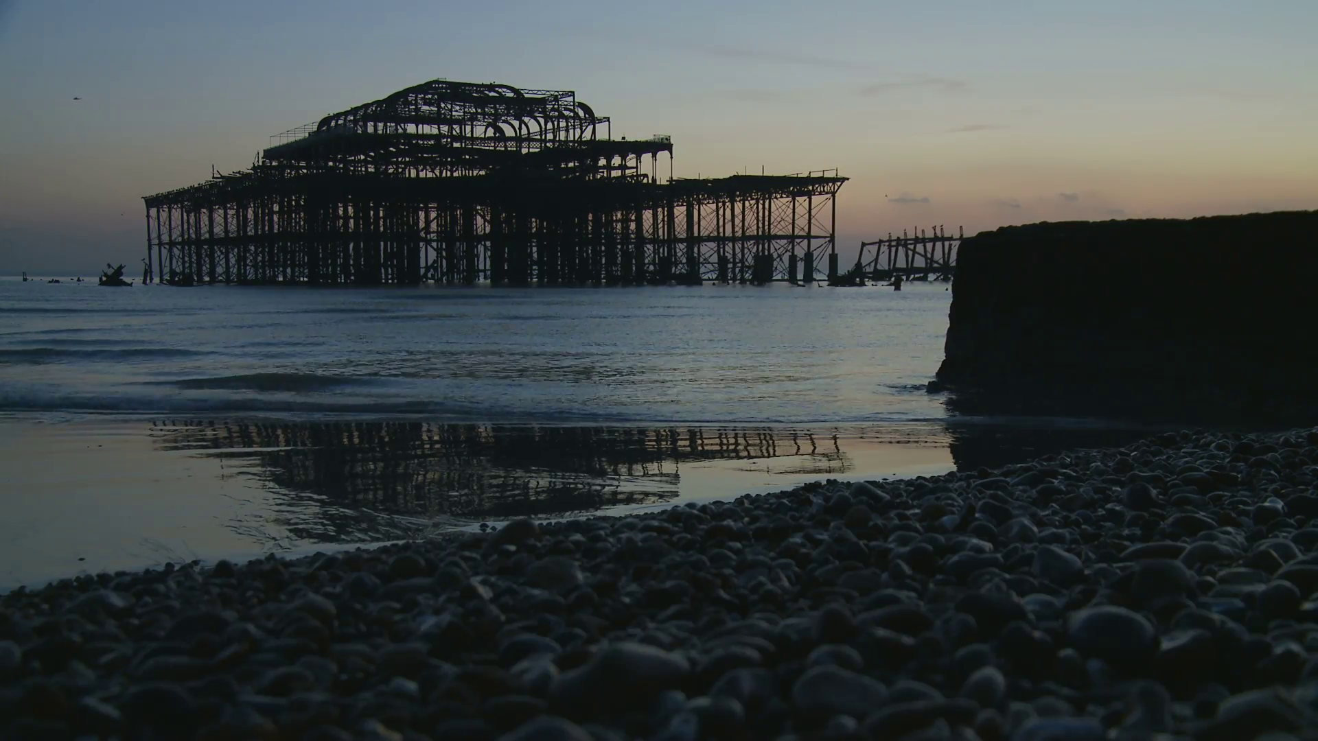 Derelict Pier & Bolder Reflection, Brighton, UK Stock Video Footage ...