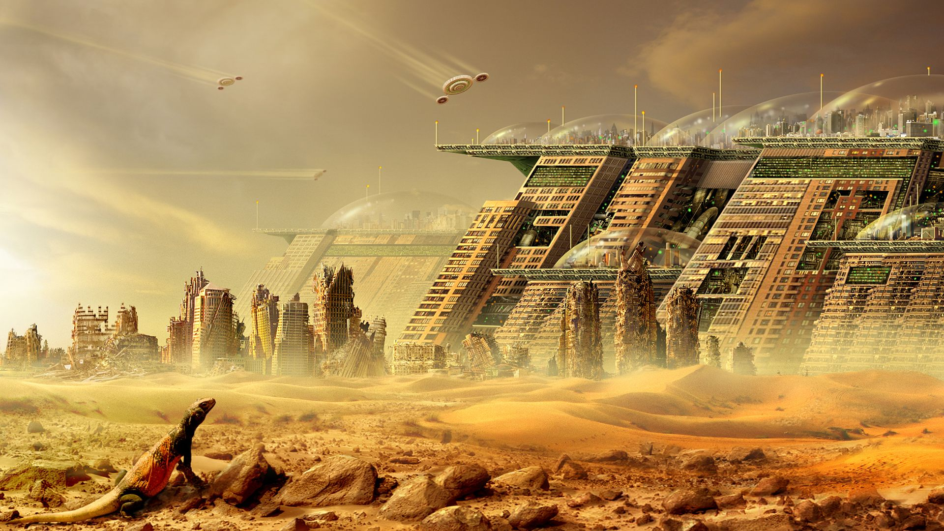 Sci Fi City Sci Fi Cityscape Future Technology Ship Dome Desert ...