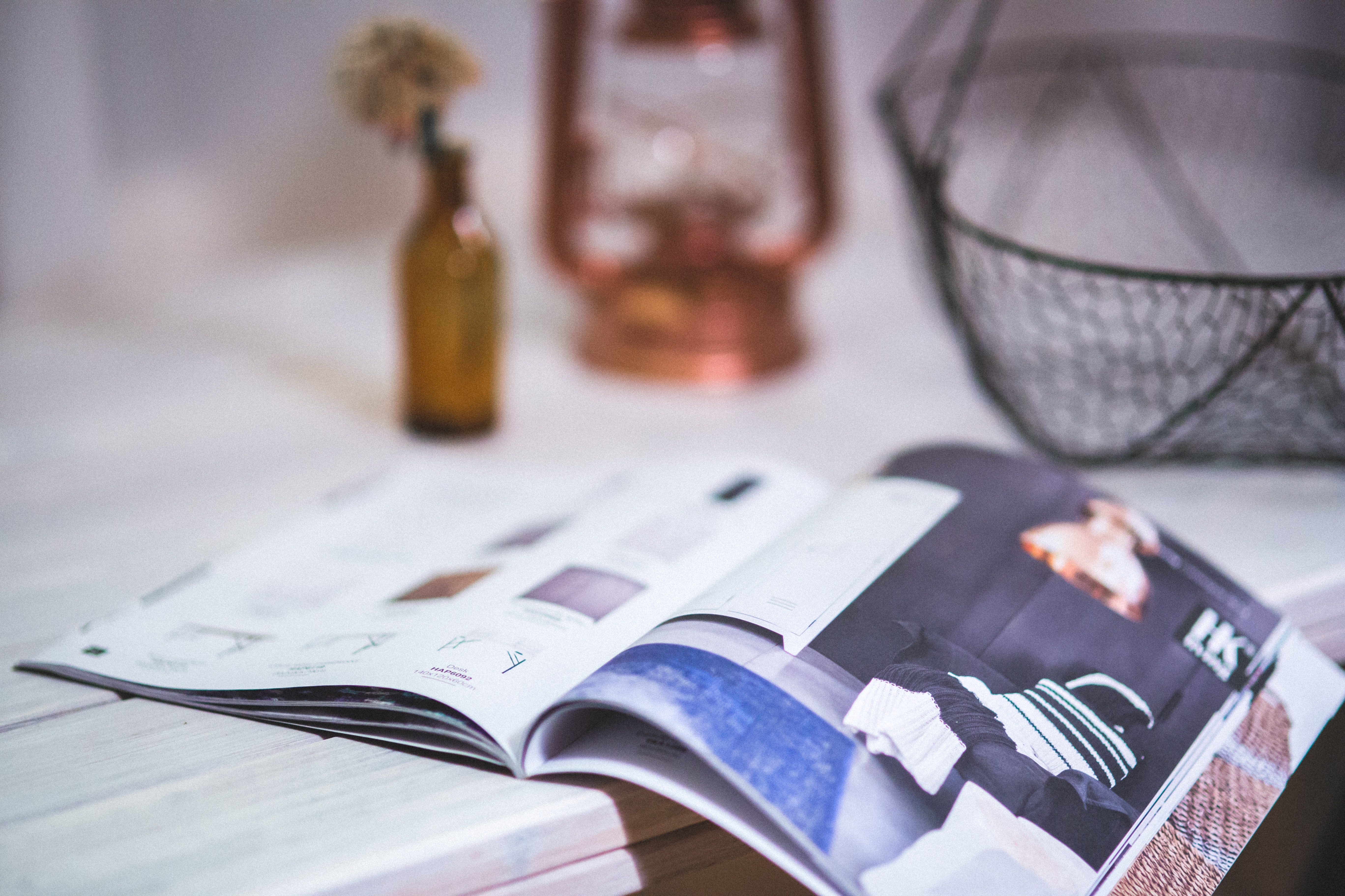 Detail of open magazine, Newspaper, Writing, Wood, Still life, HQ Photo