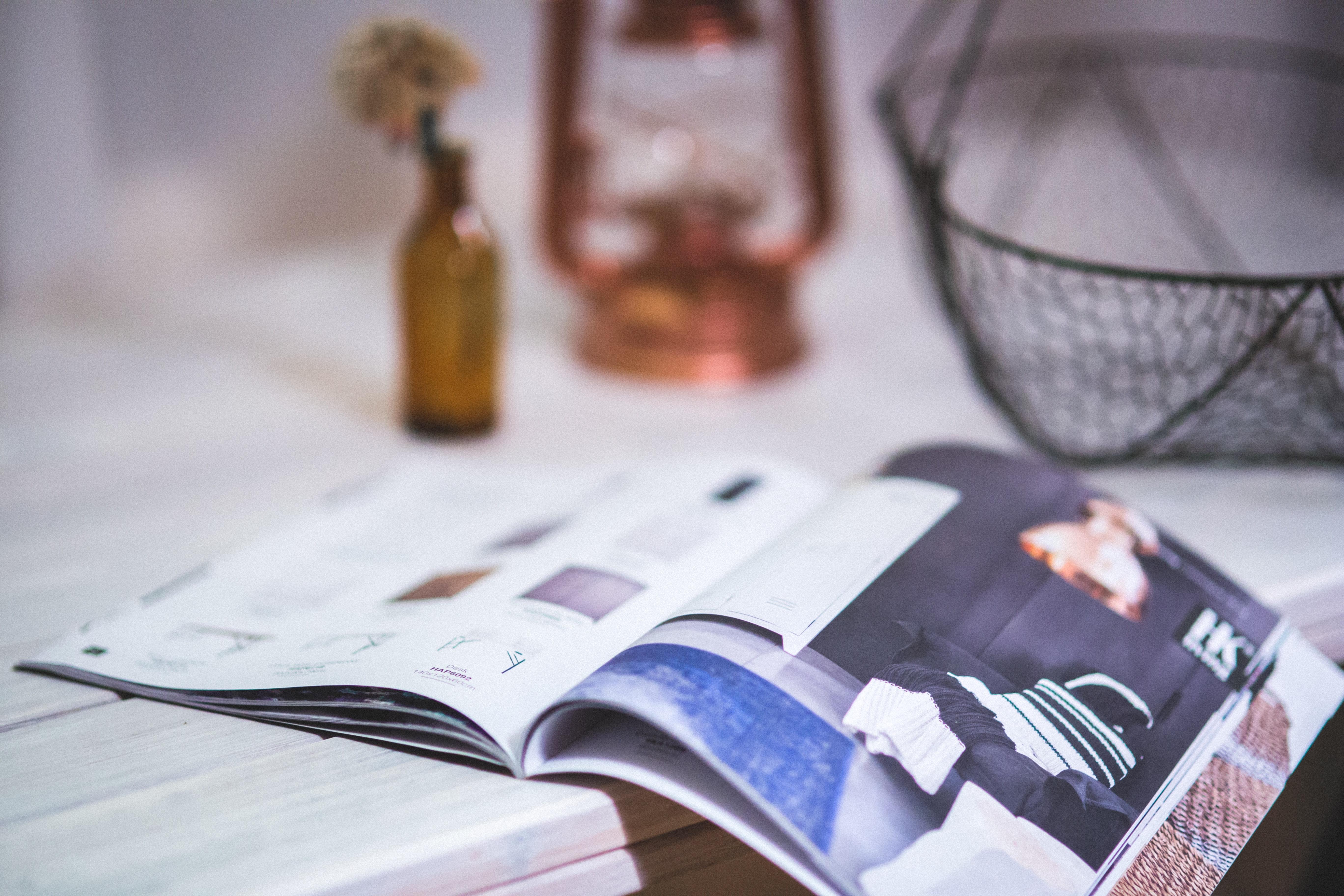 Detail of open magazine photo