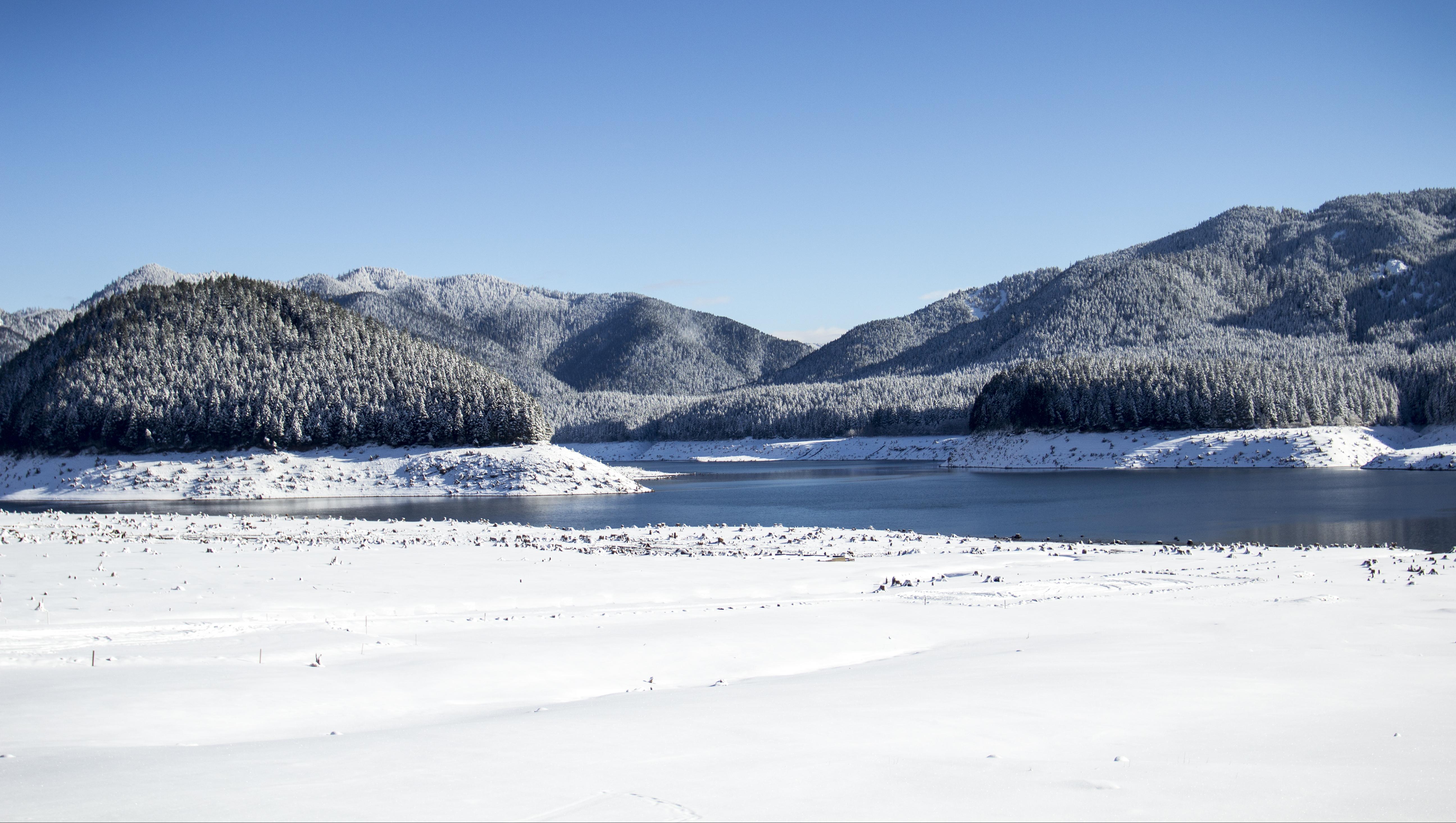 Detroit Lake in winter, Oregon, Snow, Sky, Tree, Water, HQ Photo