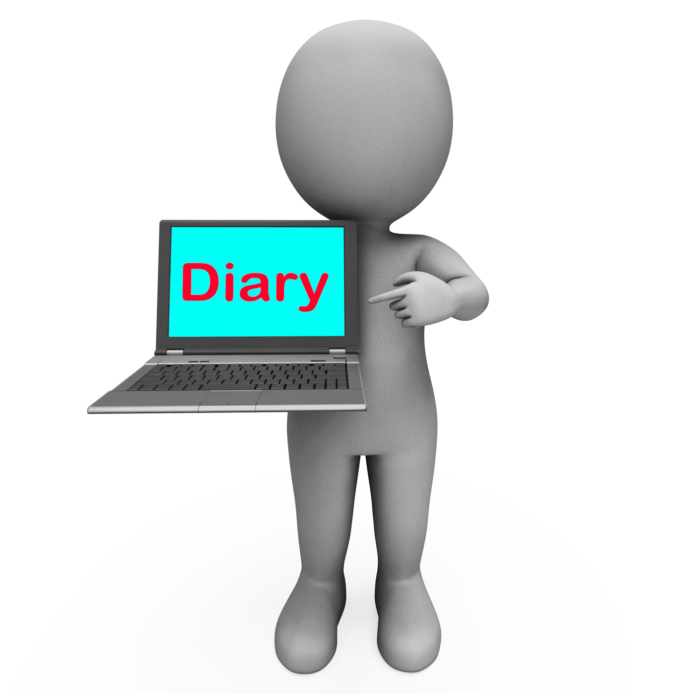 Diary laptop character shows online reminder or scheduler photo