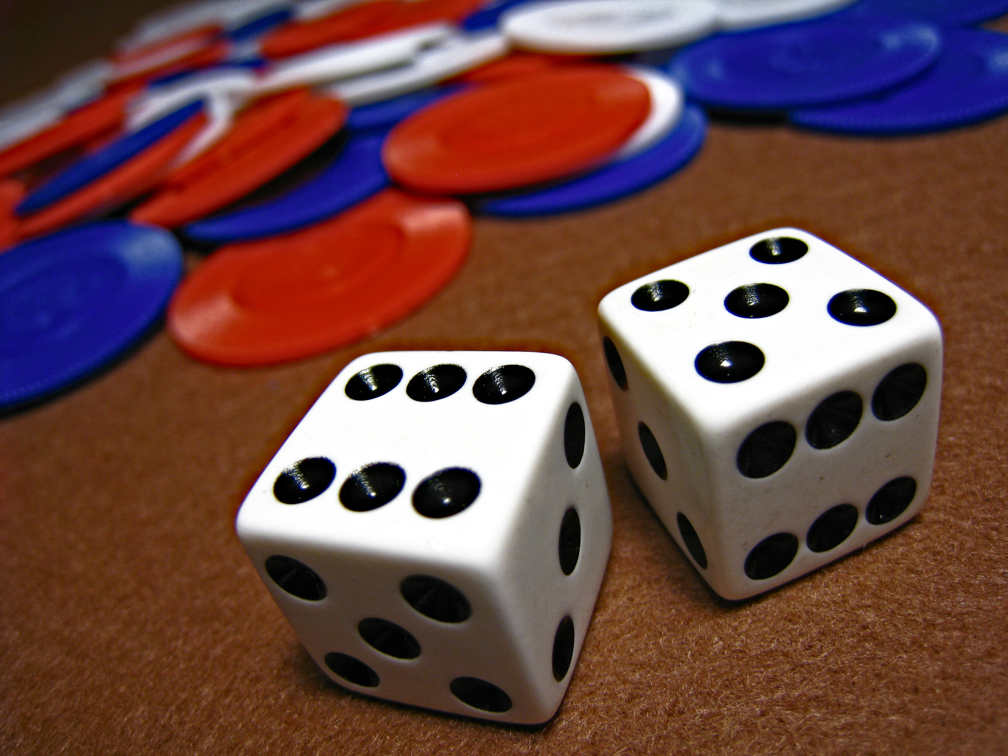 Dice and Poker Chips, Casino, Chips, Dice, Gambling, HQ Photo