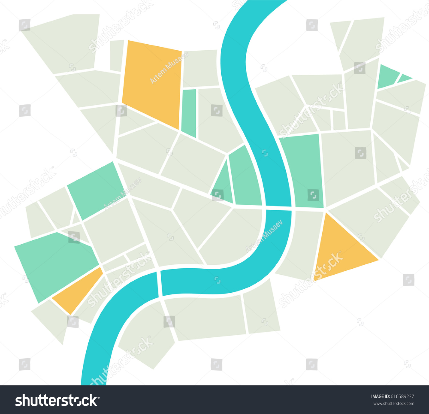 Minimalistic Vector City Map River Different Stock Vector HD ...