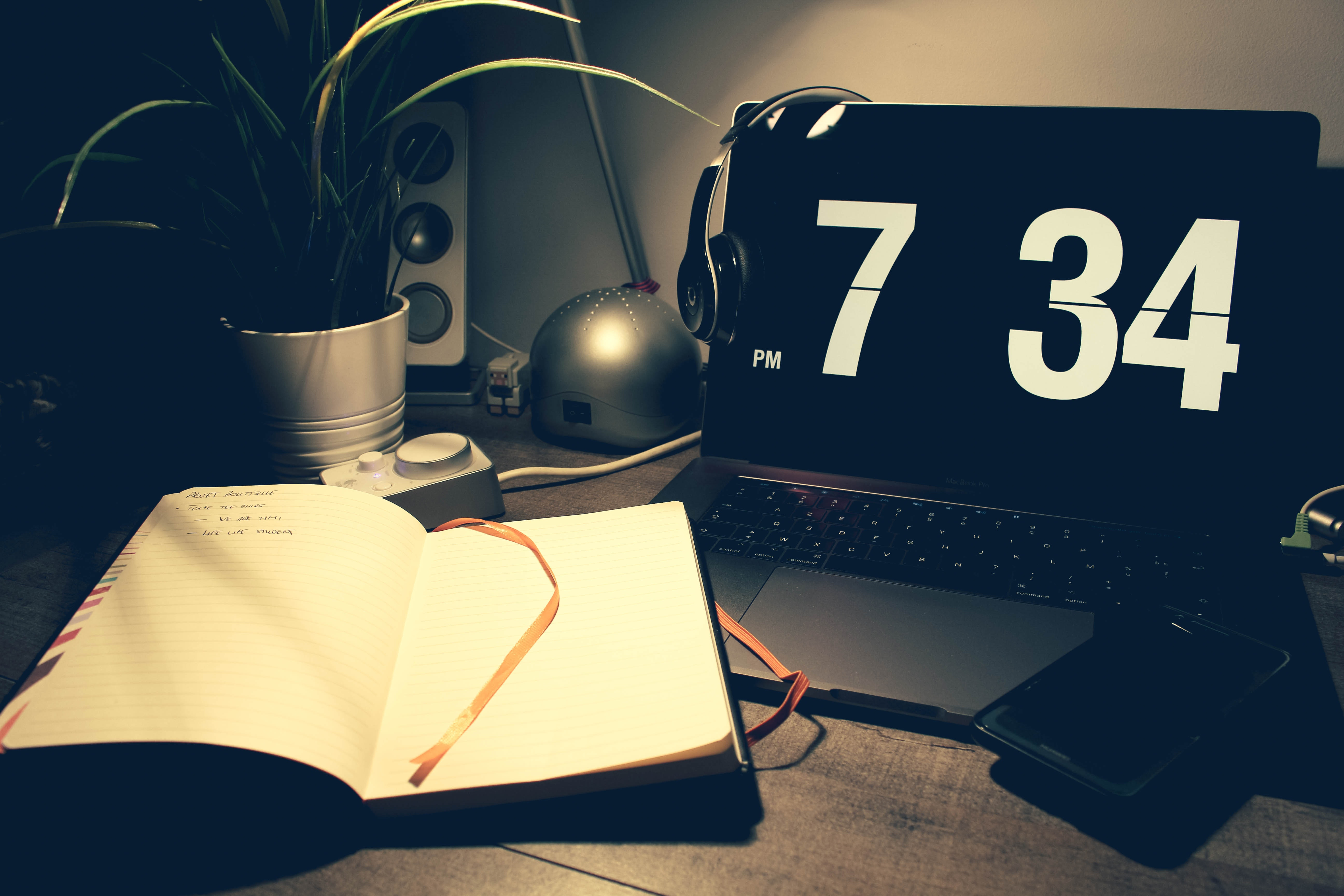 Digital Clock at 7:34 Pm, Books, Office, Table, Style, HQ Photo