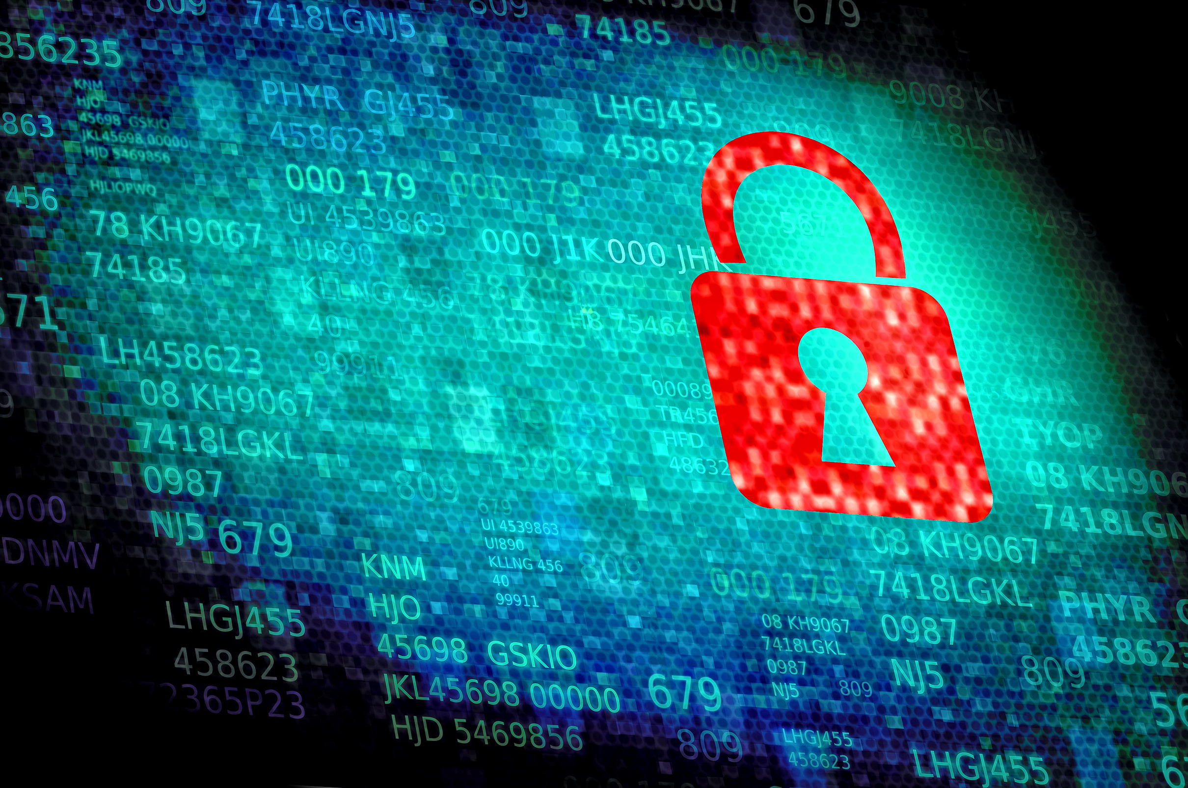 Digital padlock on data screen - Web and data security, 3d, Policy, Scan, Safety, HQ Photo