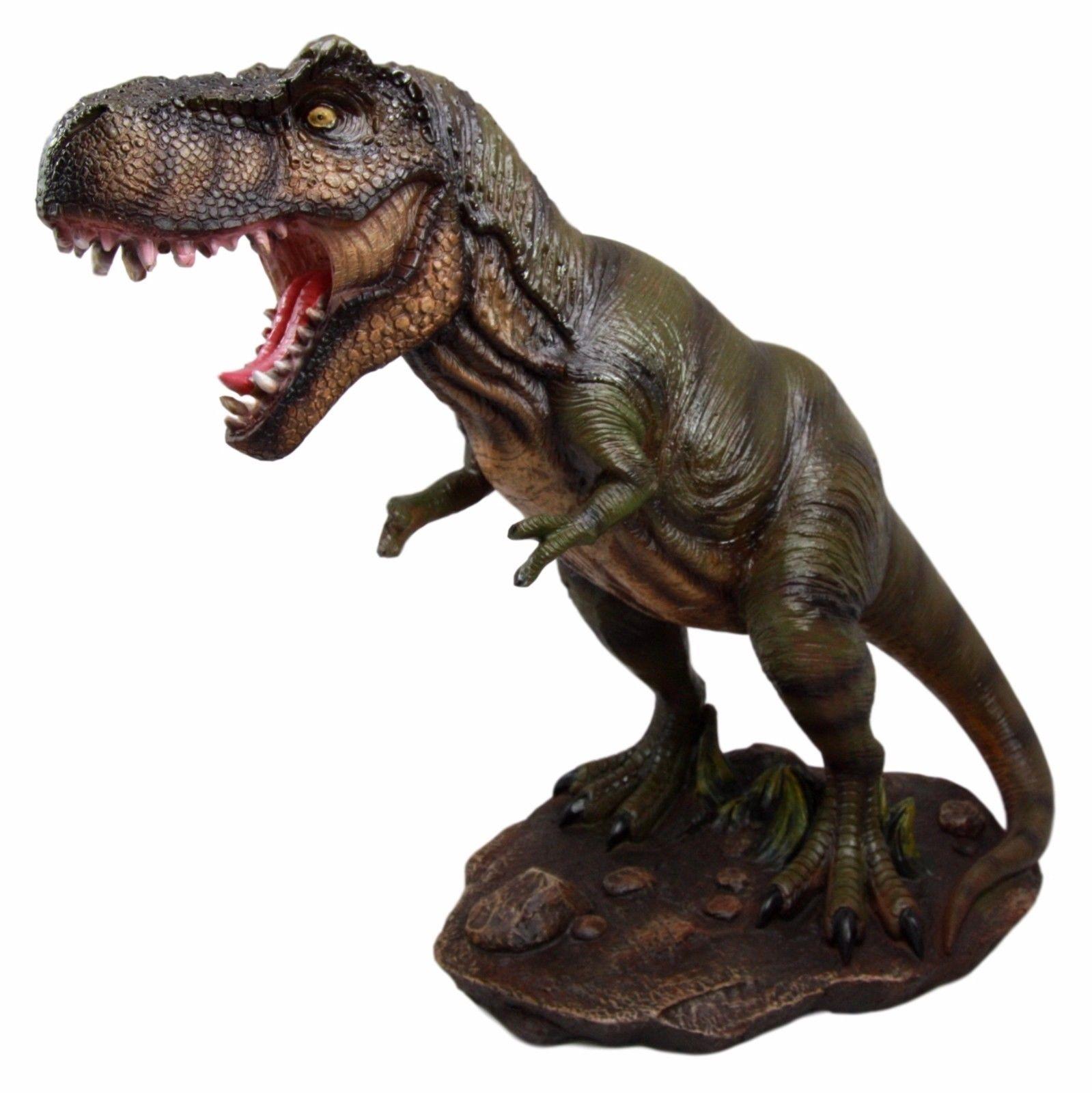 Large Roaring Jurassic Tyrannosaurus Rex Dinosaur Resin Statue 12 ...