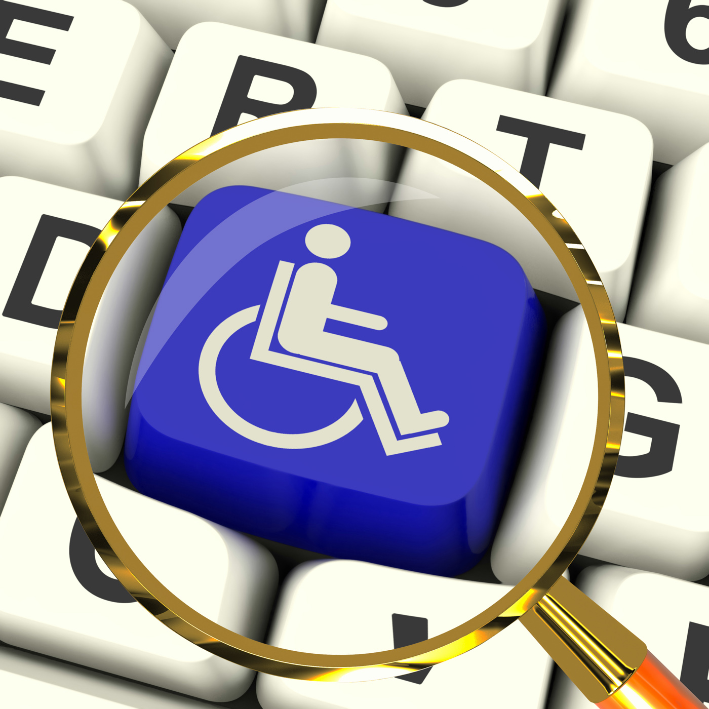 Disabled Key Magnified Shows Wheelchair Access Or Handicapped, Accessibility, Accessible, Disability, Disable, HQ Photo