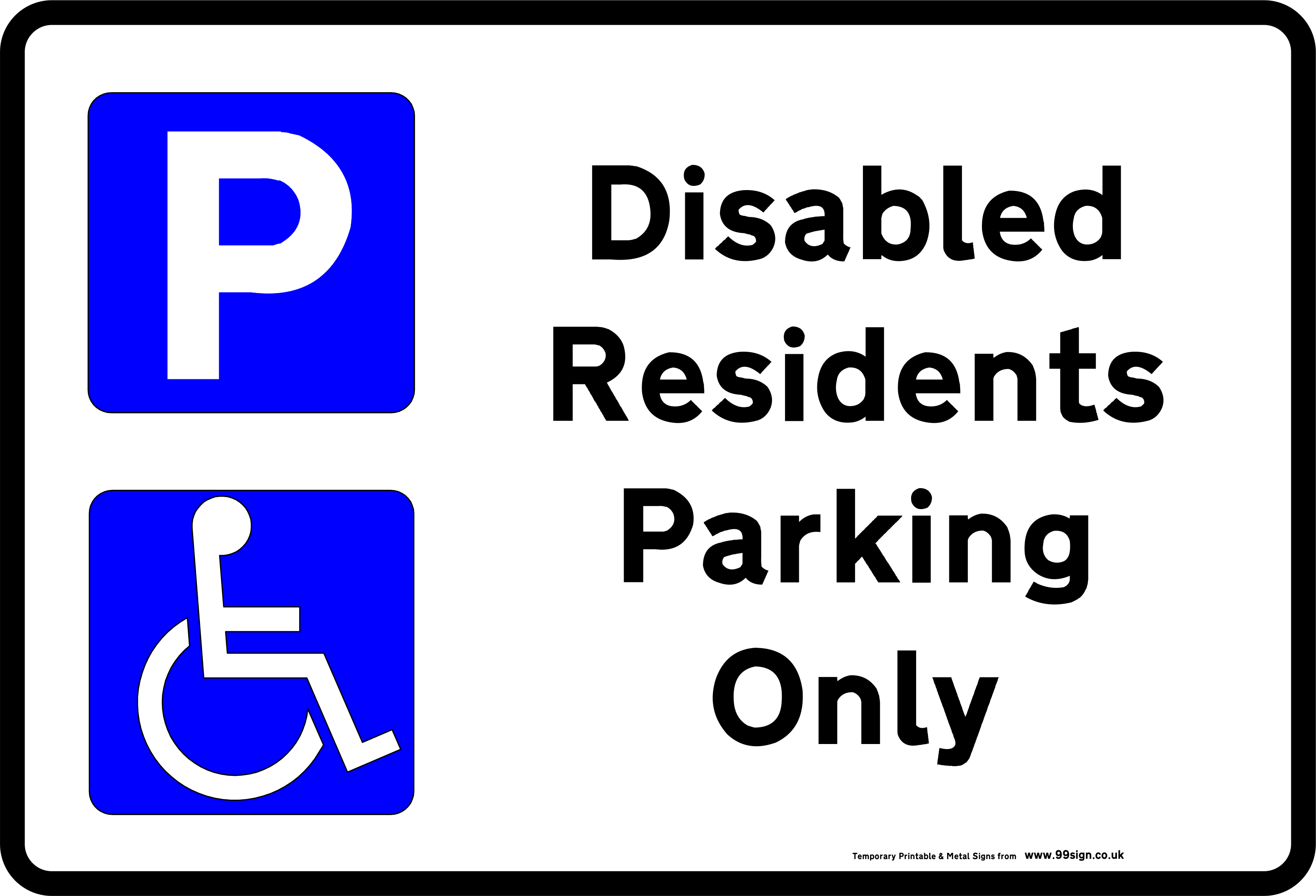 Printable Disabled Parking Sign free template for Residents clip art ...
