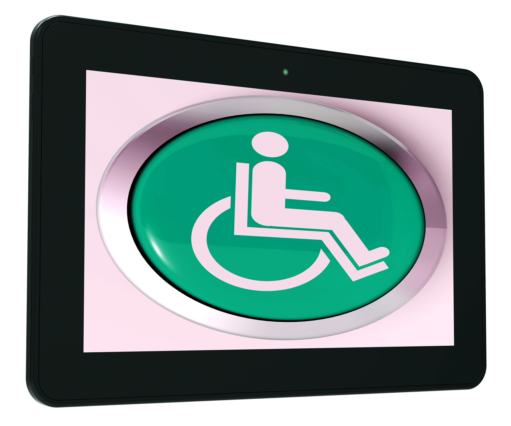Disabled Tablet Shows Wheelchair Access Or Handicapped, Accessibility, Icon, Wheelchair, Web, HQ Photo