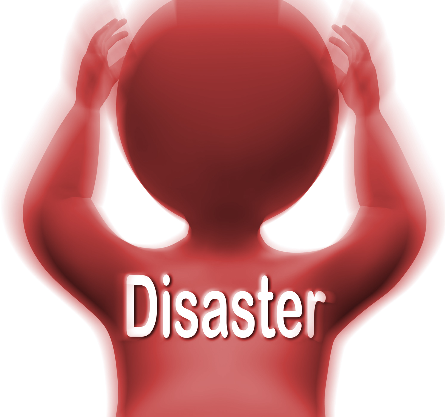 Disaster man means crisis calamity or catastrophe photo