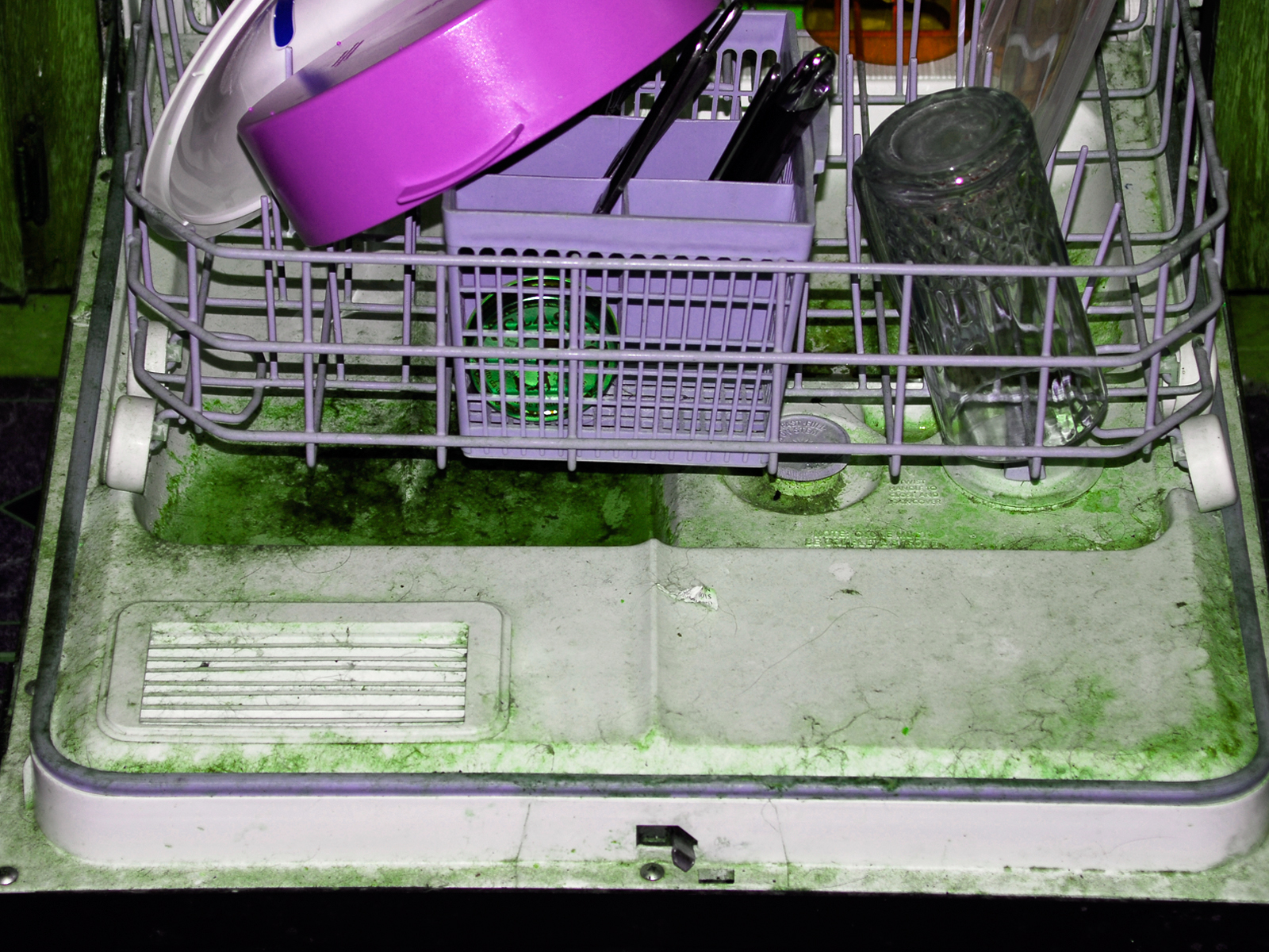 Disgusting dishwasher in abandoned proje photo