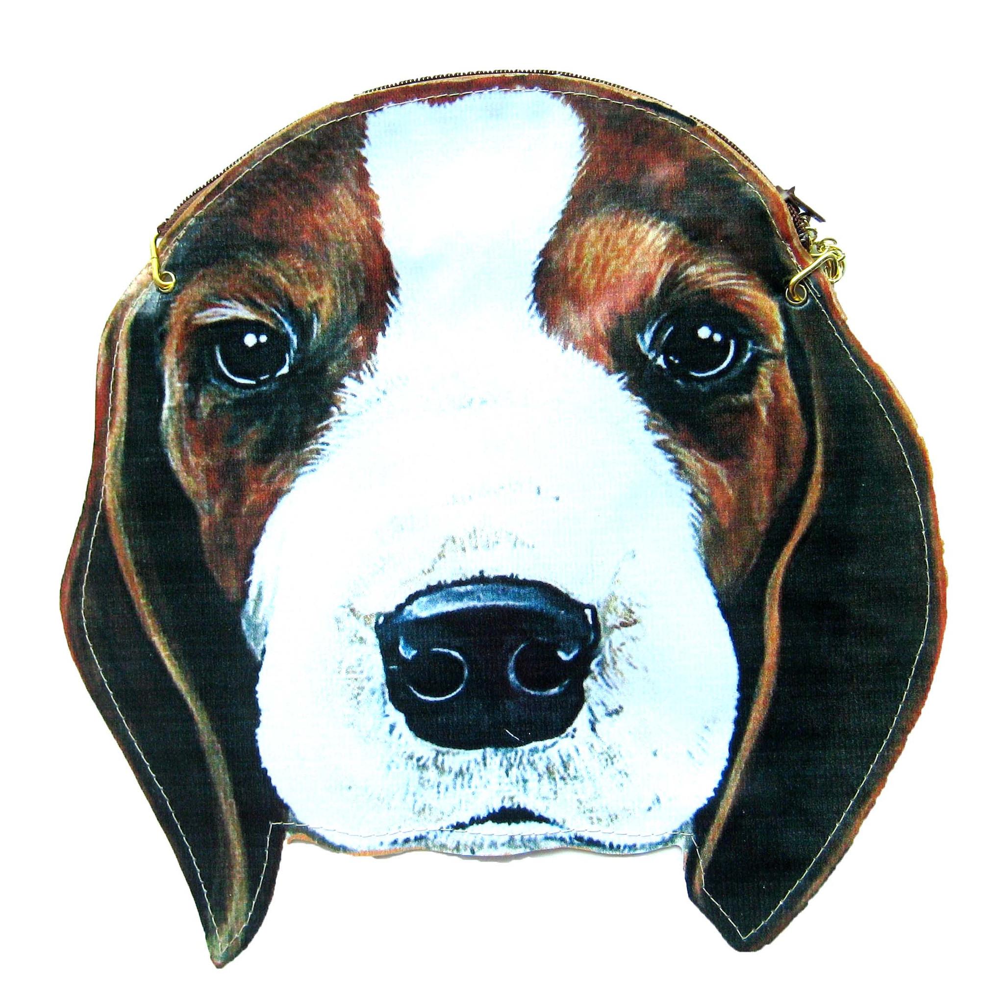 Beagle Puppy Dog Head Shaped Vinyl Animal Themed Cross Shoulder Bag ...