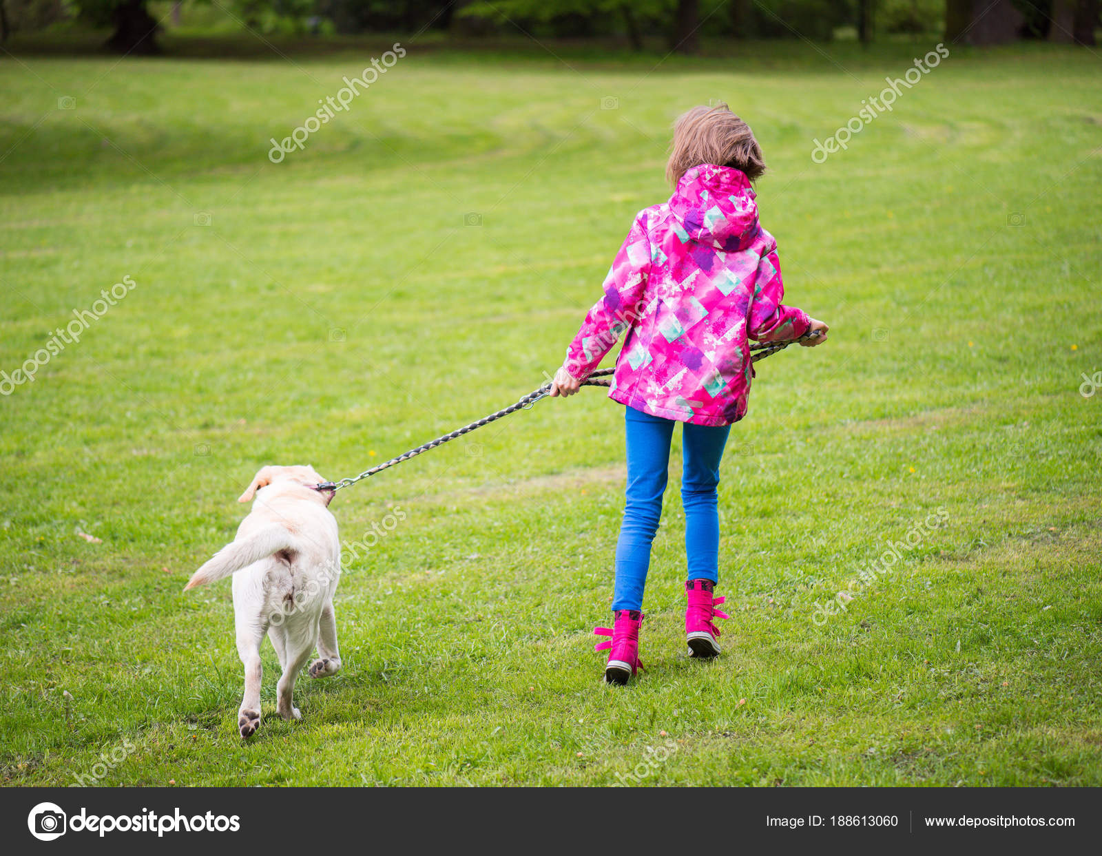 Girl with dog in park — Stock Photo © VaLiza #188613060