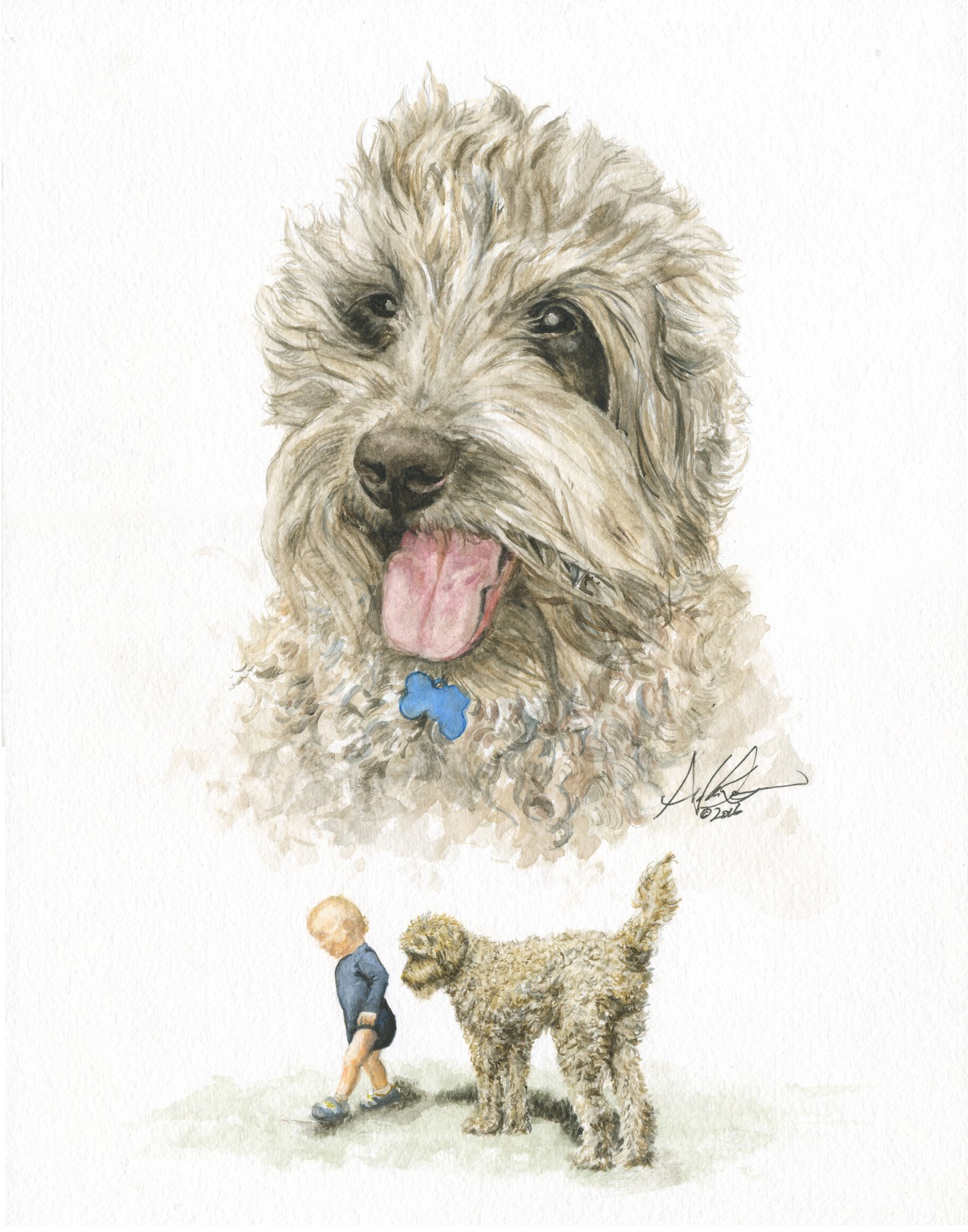 Original Watercolor Dog Portrait - Andrew Lee Design