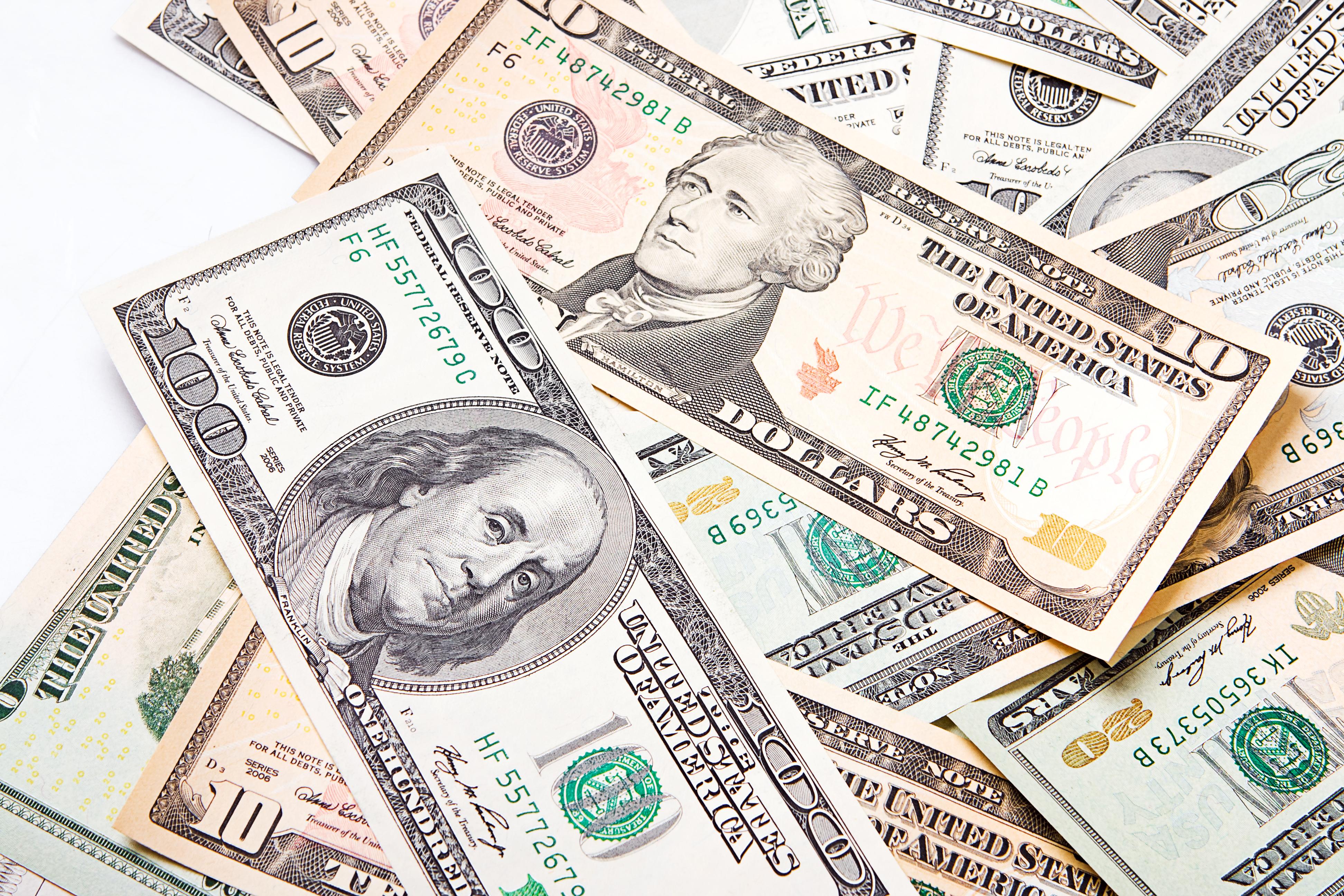 Mixed dollar bills photo