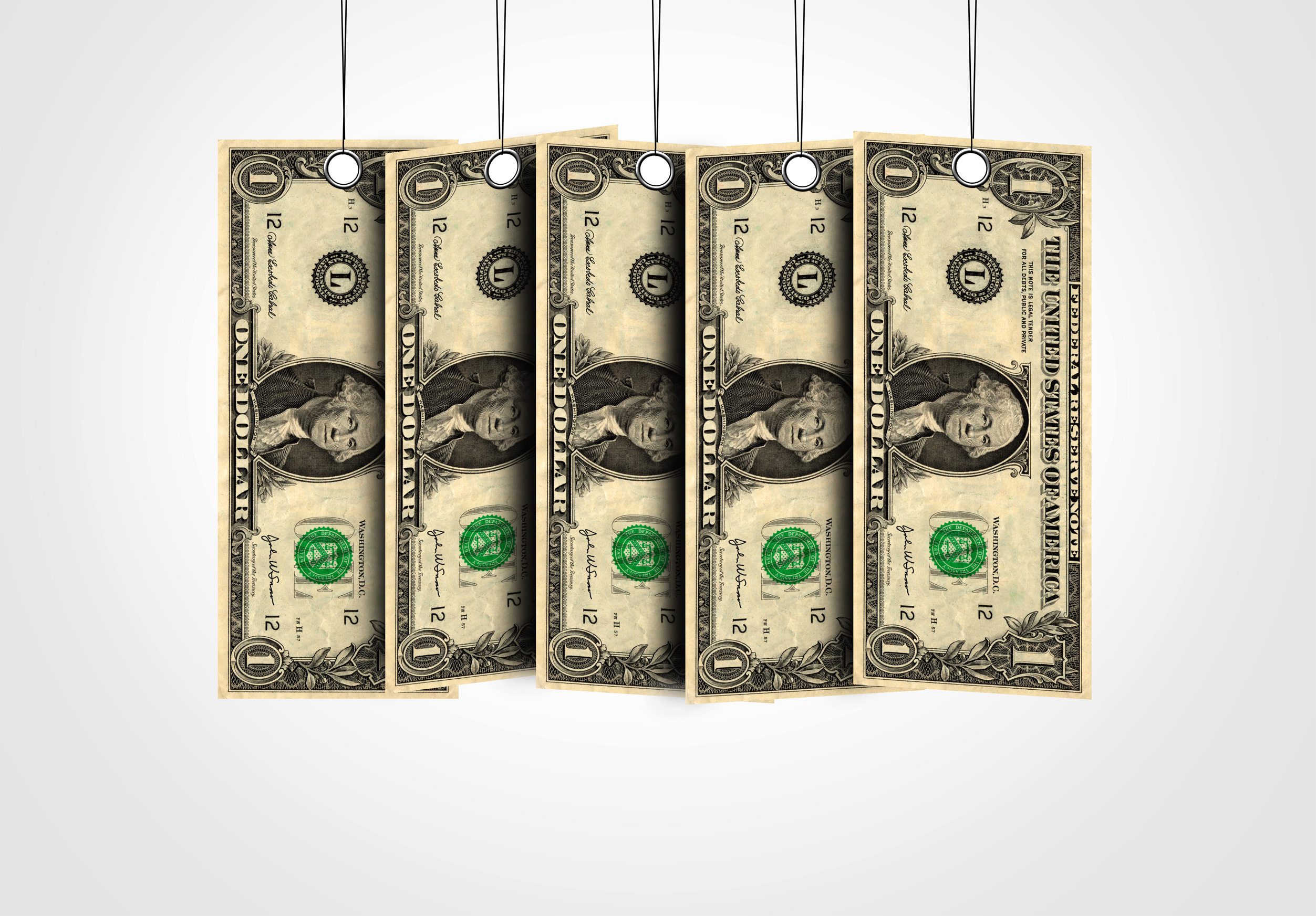 Dollar bills as labels hanging from a thread photo