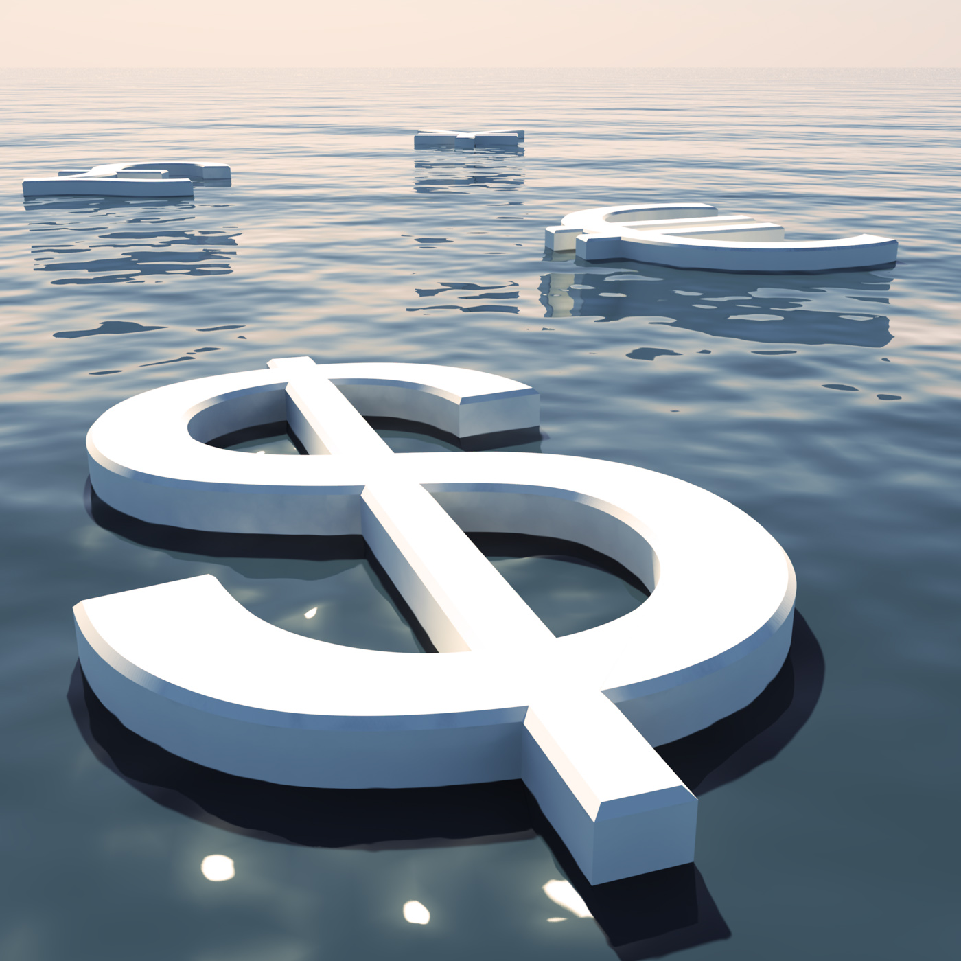 Dollar Floating And Currencies Going Away Showing Money Exchange Or Fo, Icon, Sign, Sea, Savings, HQ Photo