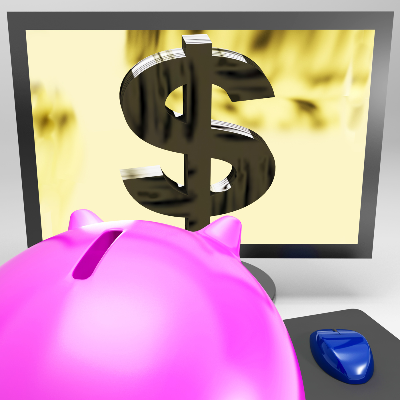 Dollar Symbol On Monitor Shows American Success, Money, Value, Success, Screen, HQ Photo