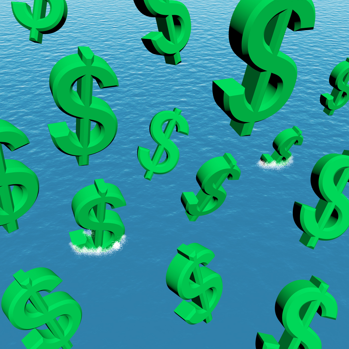 Dollars falling in the ocean showing depression recession and economic photo